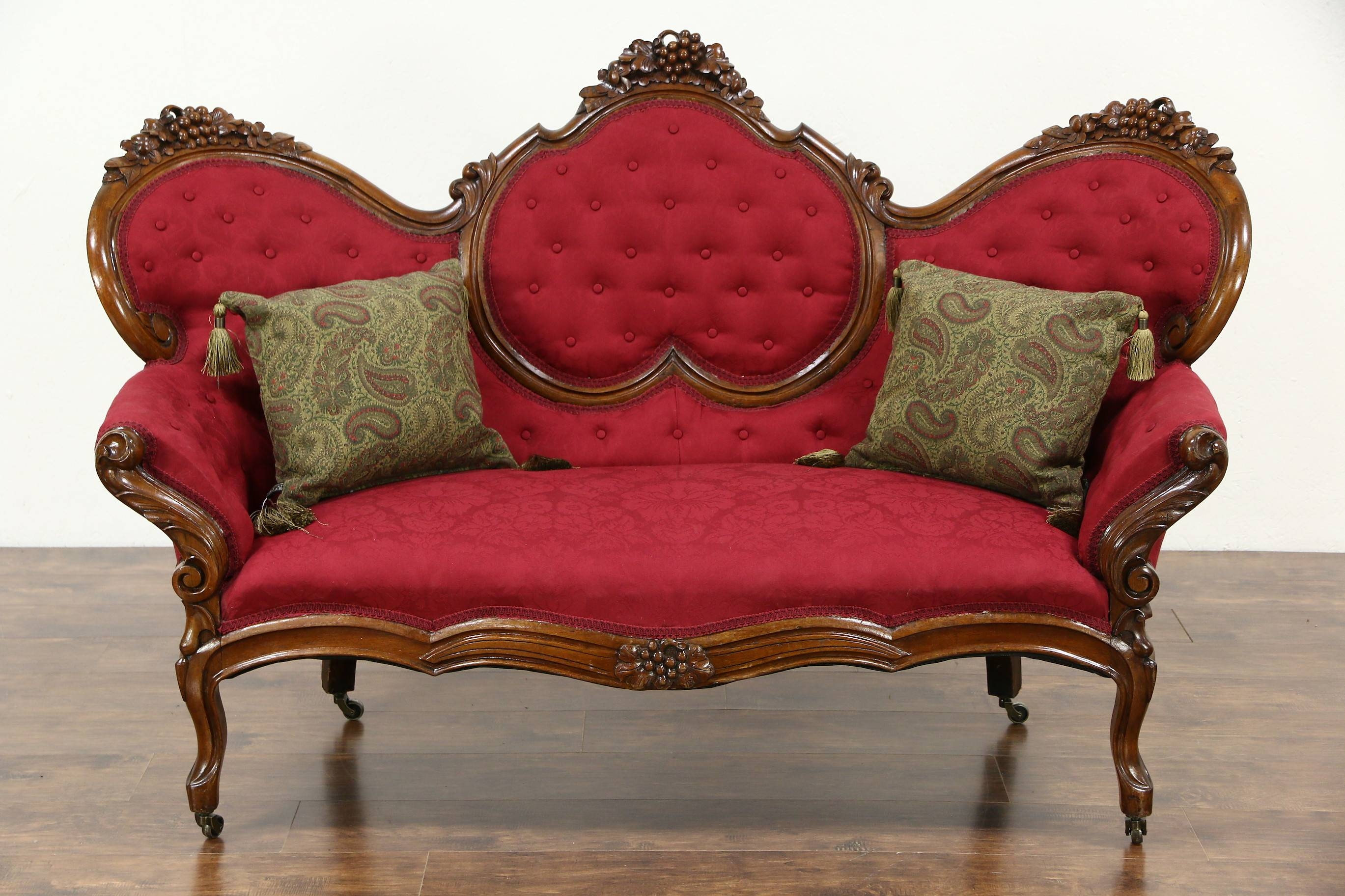 Sold - Victorian 1860's Antique Grape Carved Walnut Sofa, New intended for Antique Sofa Chairs (Image 25 of 30)