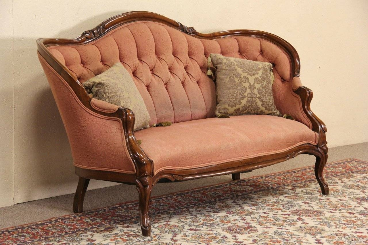 Sold - Victorian 1860's Antique Walnut Loveseat Or Sofa - Harp with Antique Sofa Chairs (Image 26 of 30)