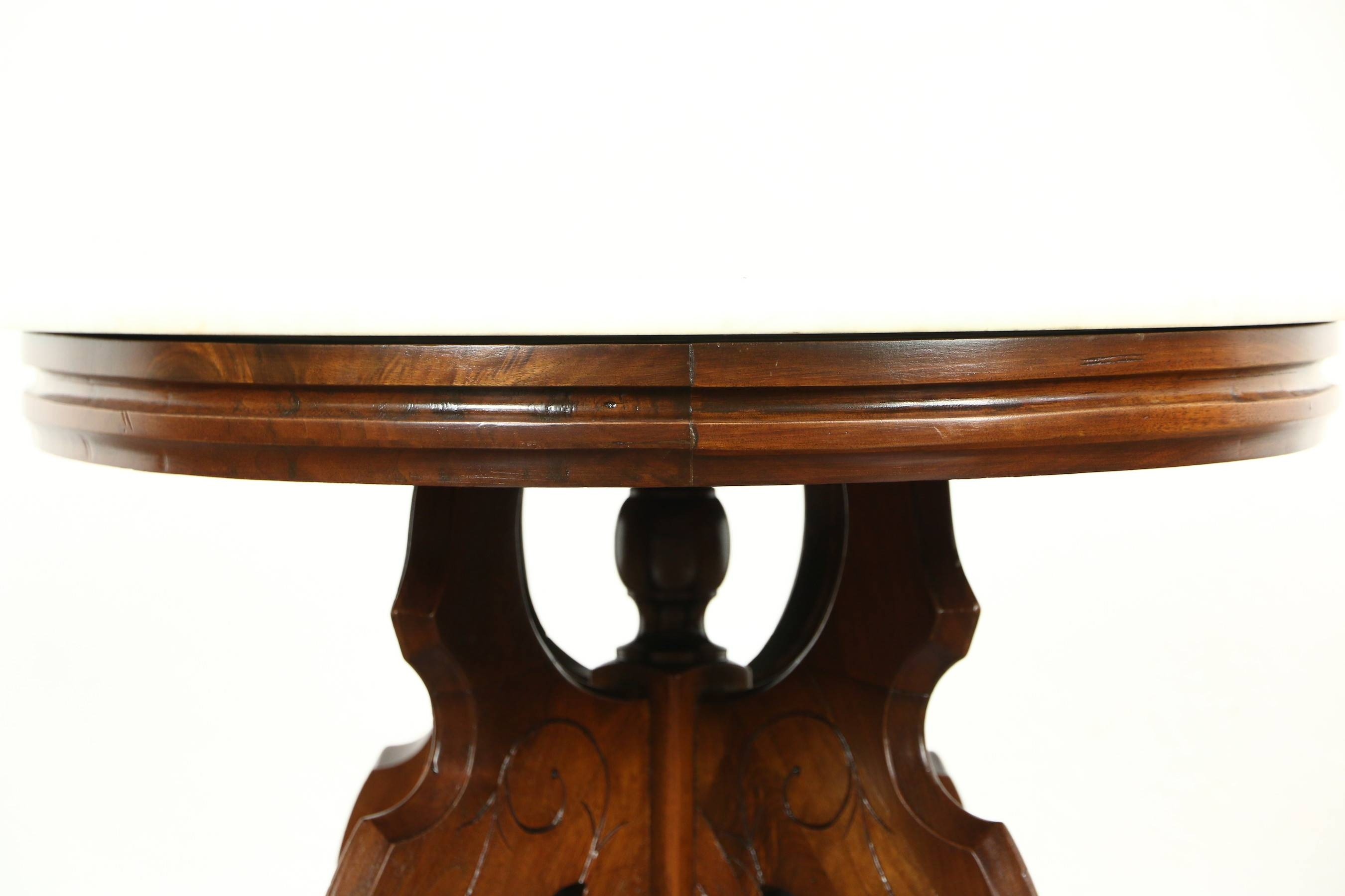 Sold – Victorian 1880's Antique Oval Marble Top Carved Walnut Intended For Oval Walnut Coffee Tables (View 17 of 30)