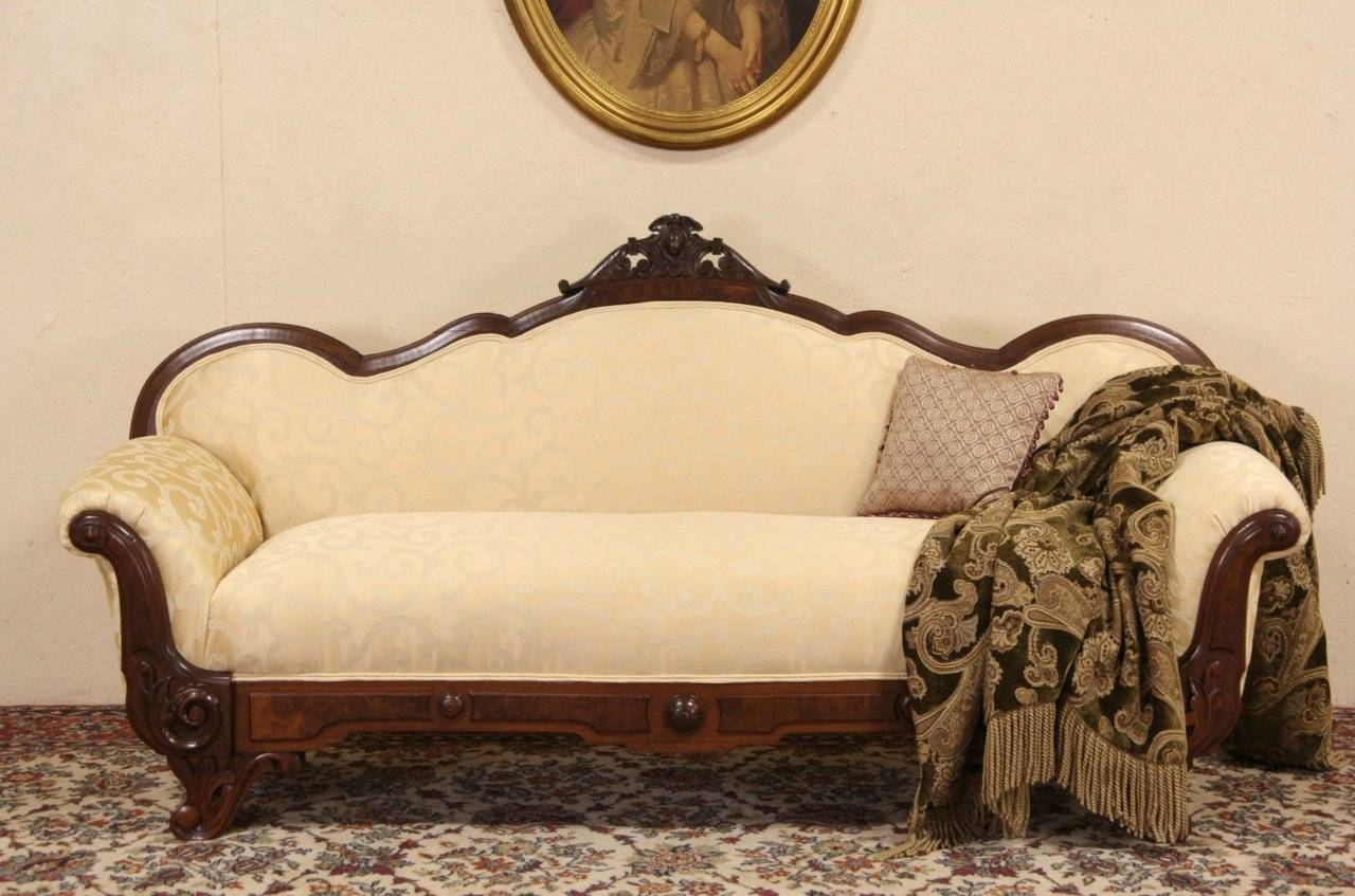 Sold - Victorian Carved 1860 Antique Sofa Or Loveseat, Newly with Antique Sofa Chairs (Image 27 of 30)