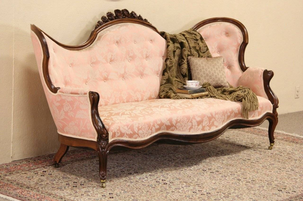 Sold - Victorian Carved Rosewood 1865 Antique Sofa, Floral Crest with Antique Sofa Chairs (Image 28 of 30)