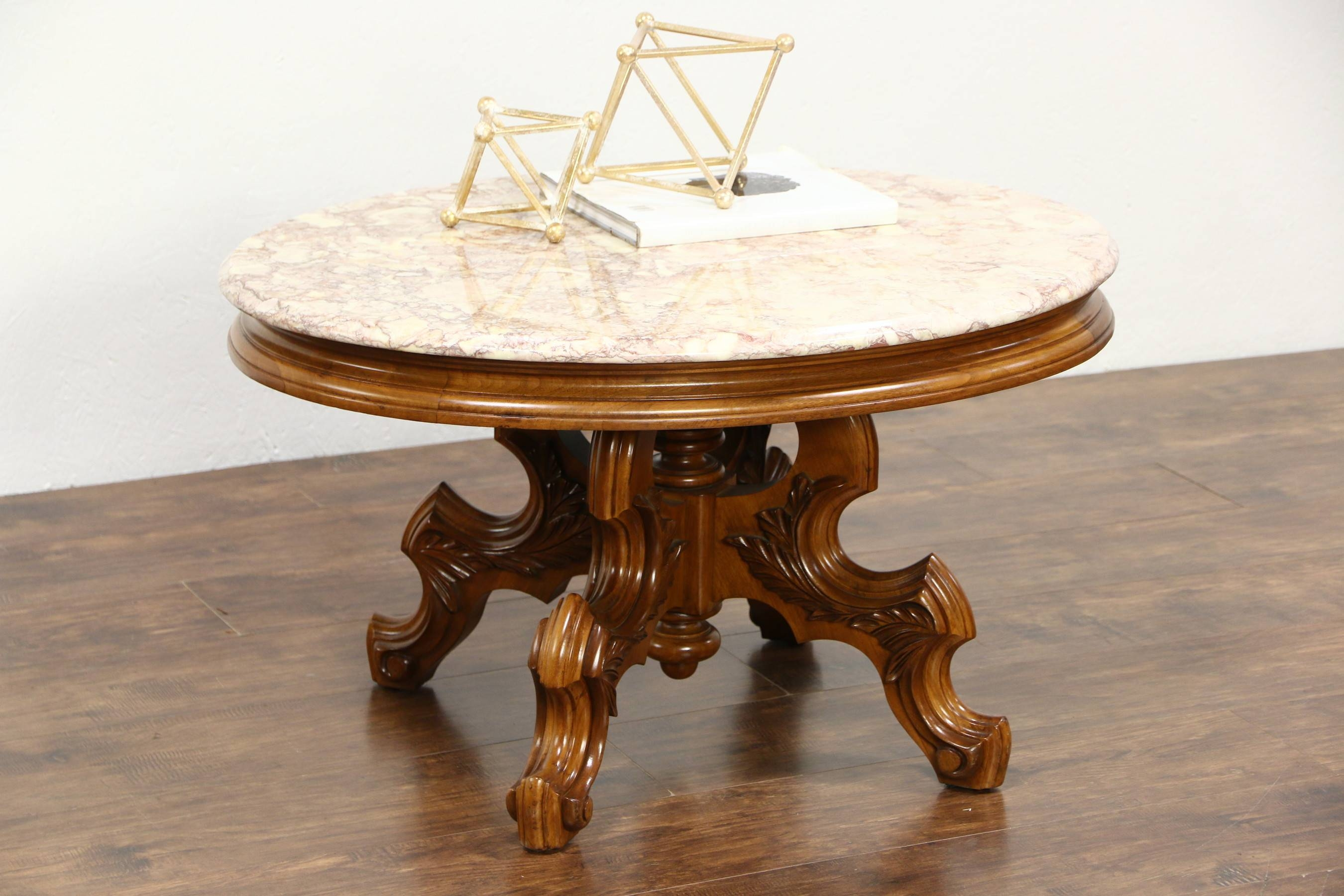Sold - Victorian Style Vintage Carved Walnut Oval Coffee Table in Oval Walnut Coffee Tables (Image 25 of 30)