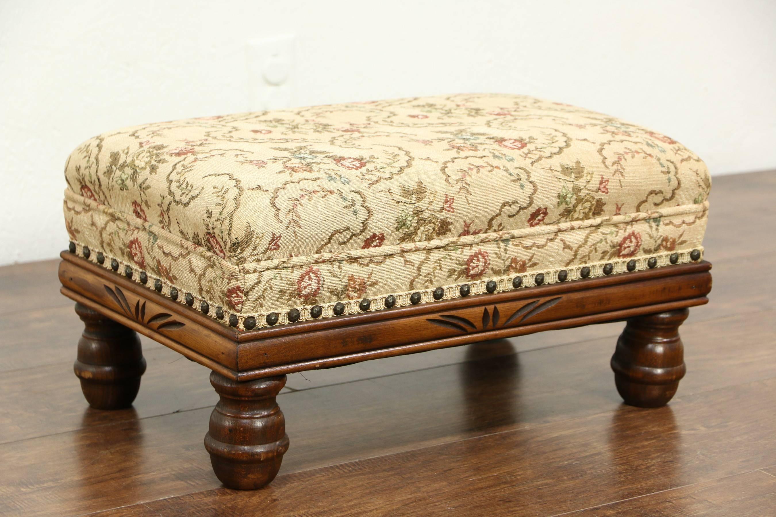 Sold - Vintage 1930's Carved Upholstered Footstool - Harp Gallery intended for Upholstered Footstools (Image 23 of 30)