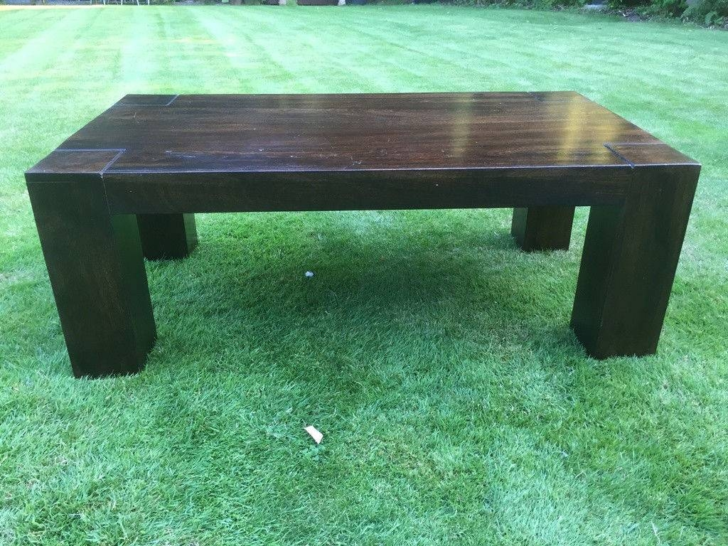 Solid Dark Wood Jannet Mango Coffee Table / Outdoor / Conservatory with regard to Dark Mango Coffee Tables (Image 28 of 30)