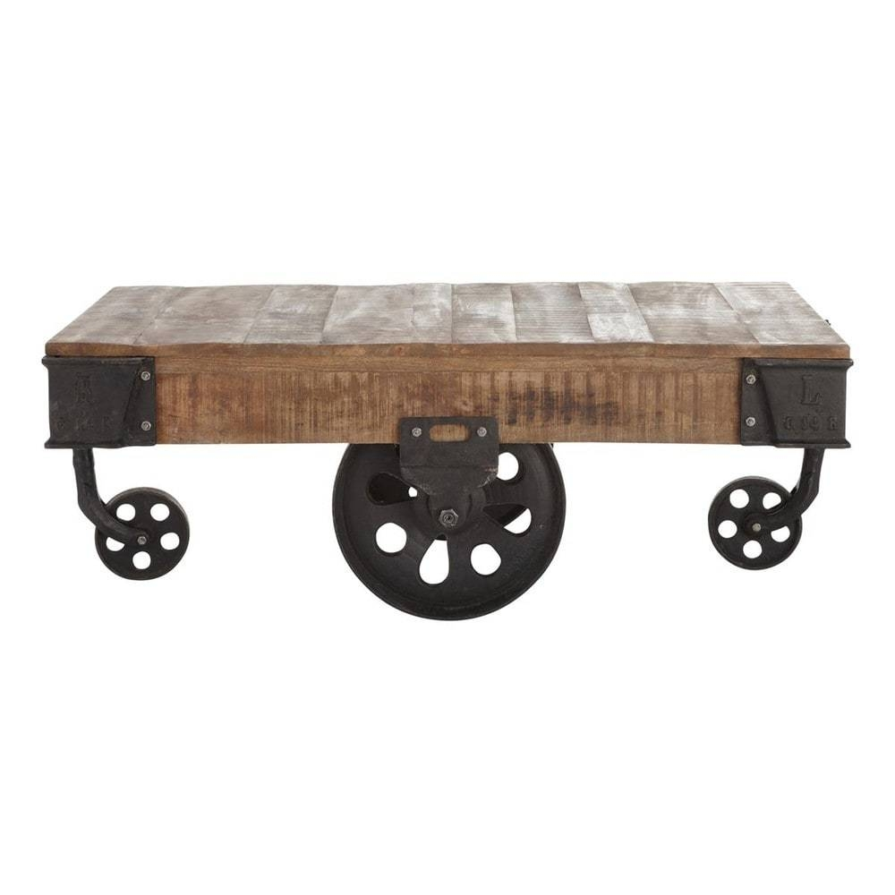 Solid Mango Wood And Metal Industrial Coffee Table On Castors W throughout Mango Wood Coffee Tables (Image 26 of 30)