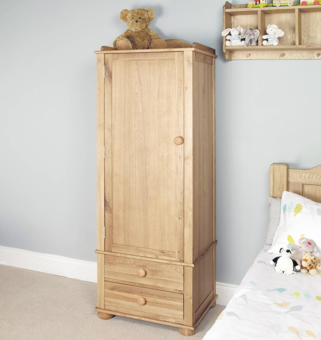 Solid Oak Childrens Single Wardrobe with regard to Single Oak Wardrobes With Drawers (Image 15 of 15)