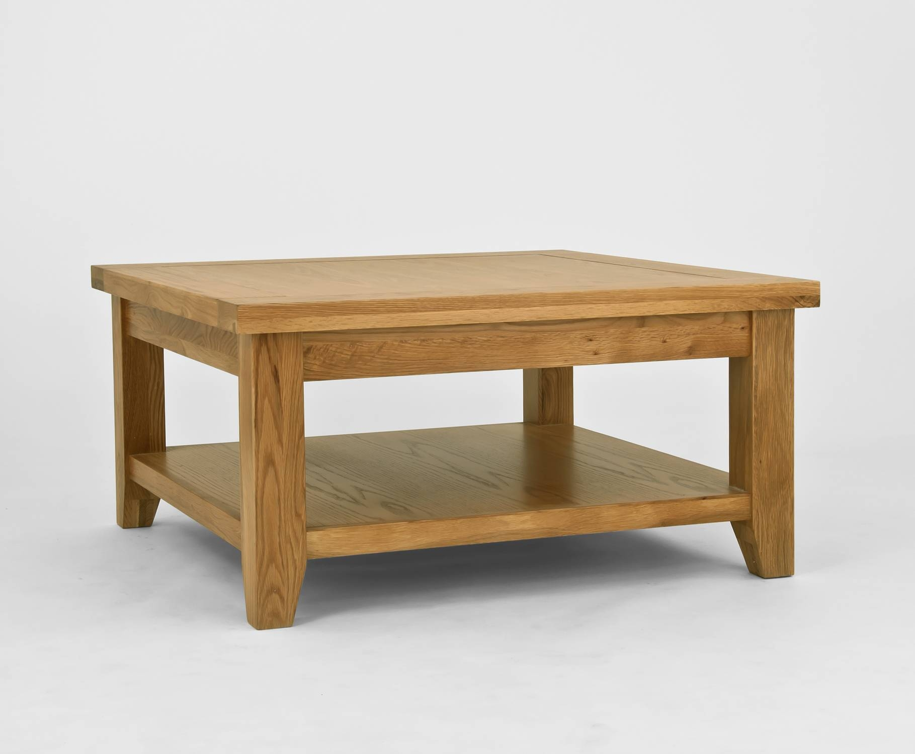Solid Oak Coffee Table With Shelf | Coffee Tables Decoration regarding Square Pine Coffee Tables (Image 26 of 30)