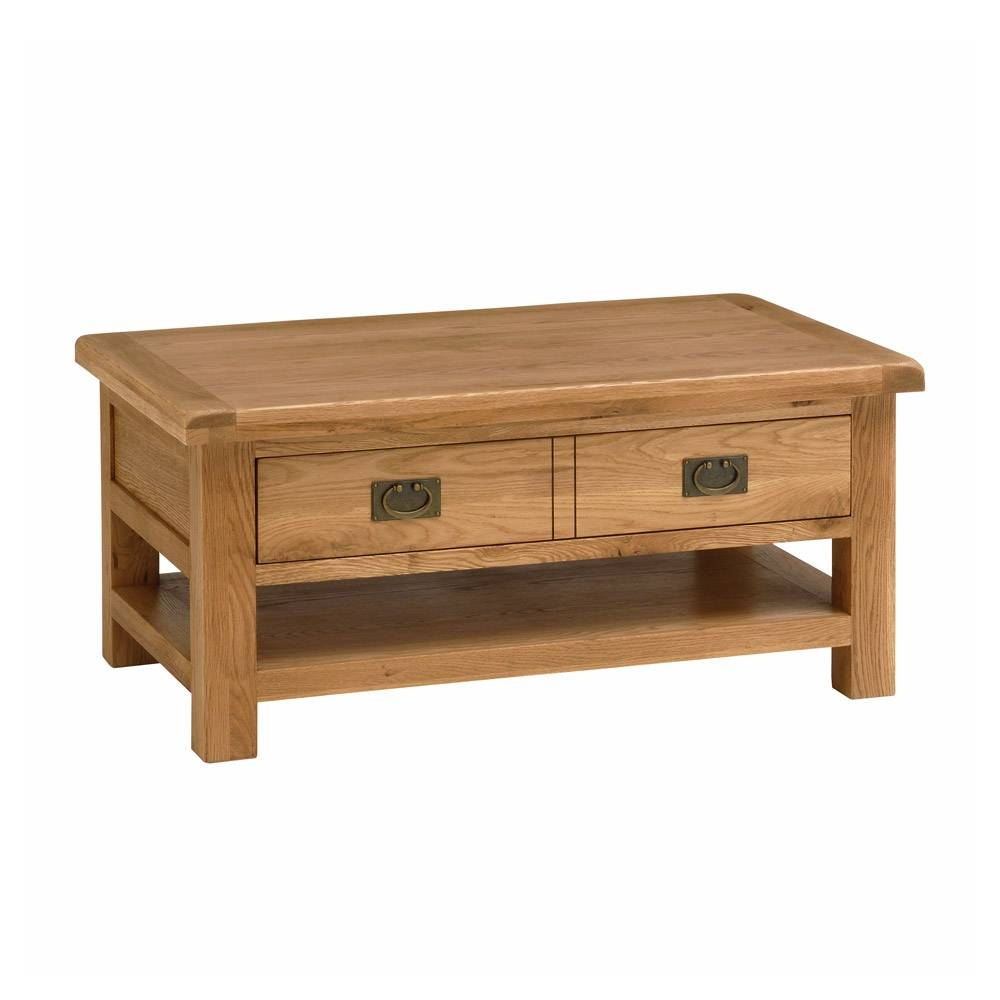 Solid Oak Coffee Table With Shelf | Coffee Tables Decoration With Oak Coffee Table Sets (View 14 of 30)