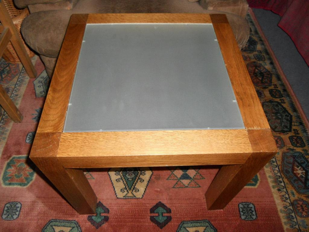 Solid Oak Glass Topped M&s Coffee Table, Side Table, Lamp Table throughout M&s Coffee Tables (Image 30 of 30)