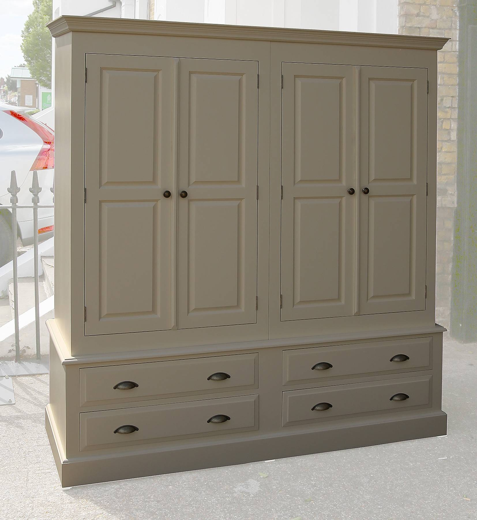 Solid Pine Farrow And Ball Painted 4 Door 4 Drawer Wardrobe In All regarding Painted Wardrobes (Image 13 of 15)