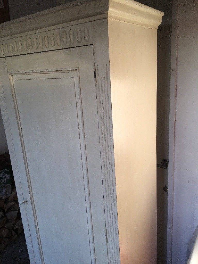 Solid Shabby Chic White/cream Single Wardrobe | In Esher, Surrey Pertaining To Cream Single Wardrobes (View 14 of 15)