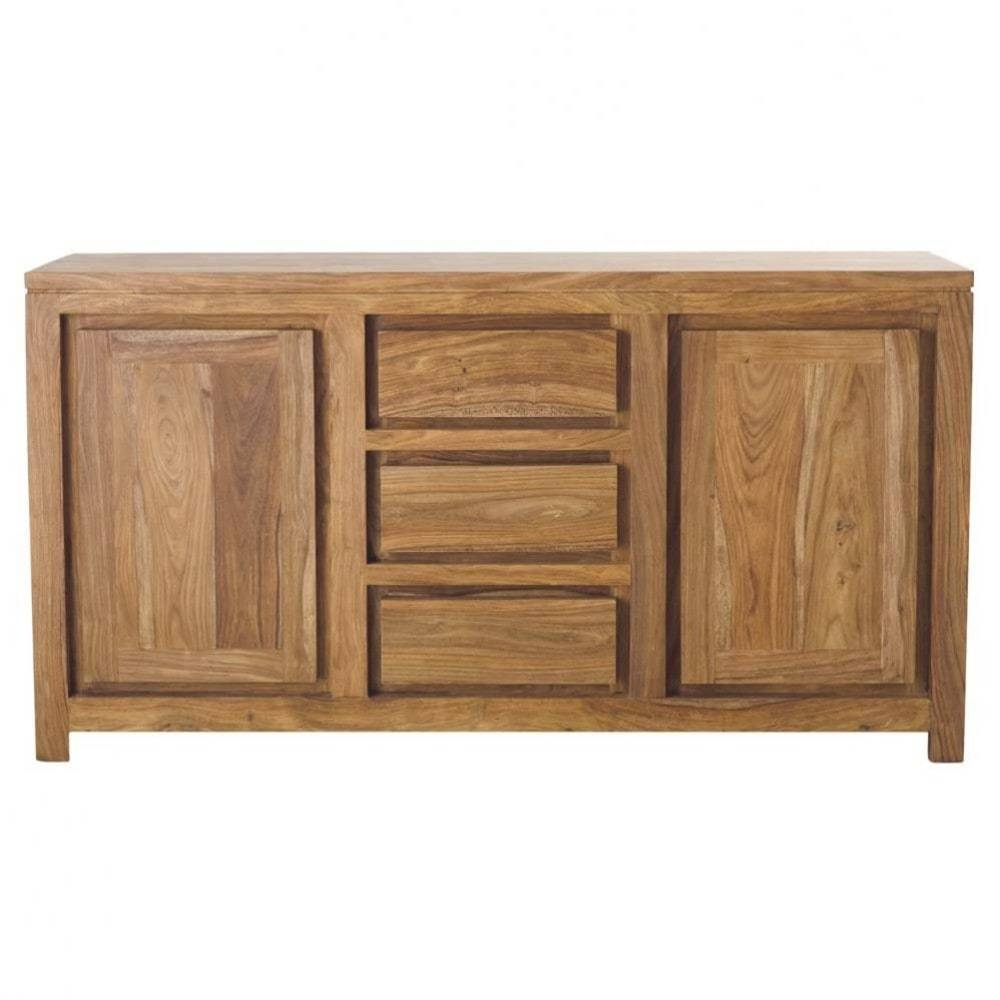 Solid Sheesham Wood 2 Door 3 Drawer Sideboard Stockholm | Maisons In Sheesham Sideboards (View 29 of 30)