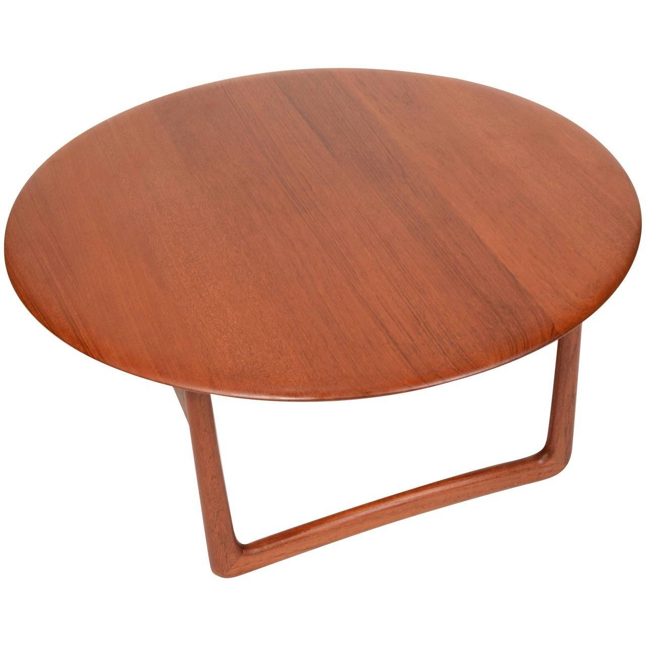 Solid Teak Danish Modern Round Coffee Tablepovl Dinesen For throughout Solid Round Coffee Tables (Image 27 of 30)
