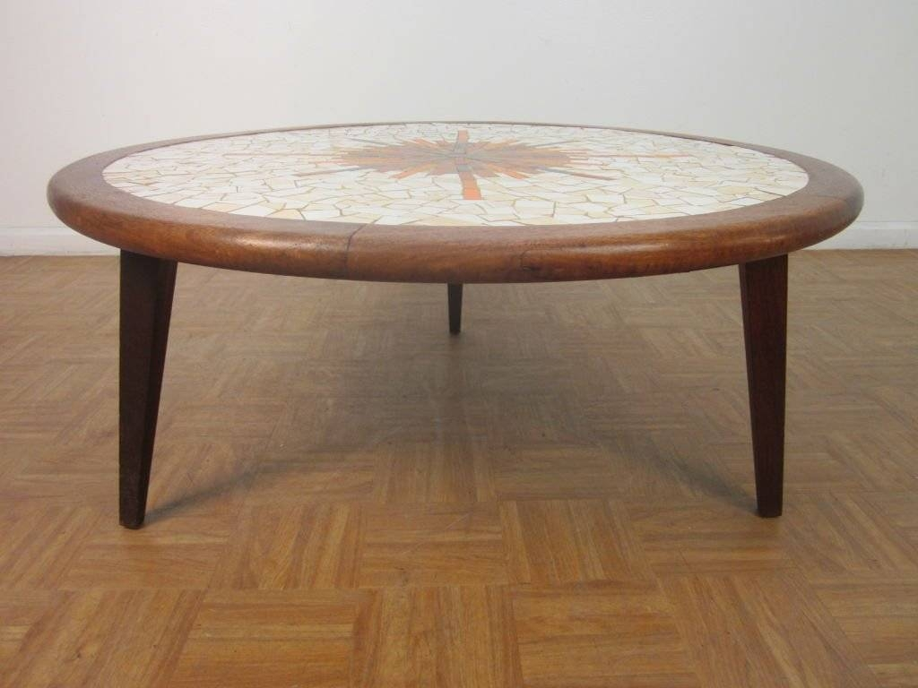 Solid Walnut Tile-Top Round Coffee Table For Sale At 1Stdibs for Solid Round Coffee Tables (Image 28 of 30)