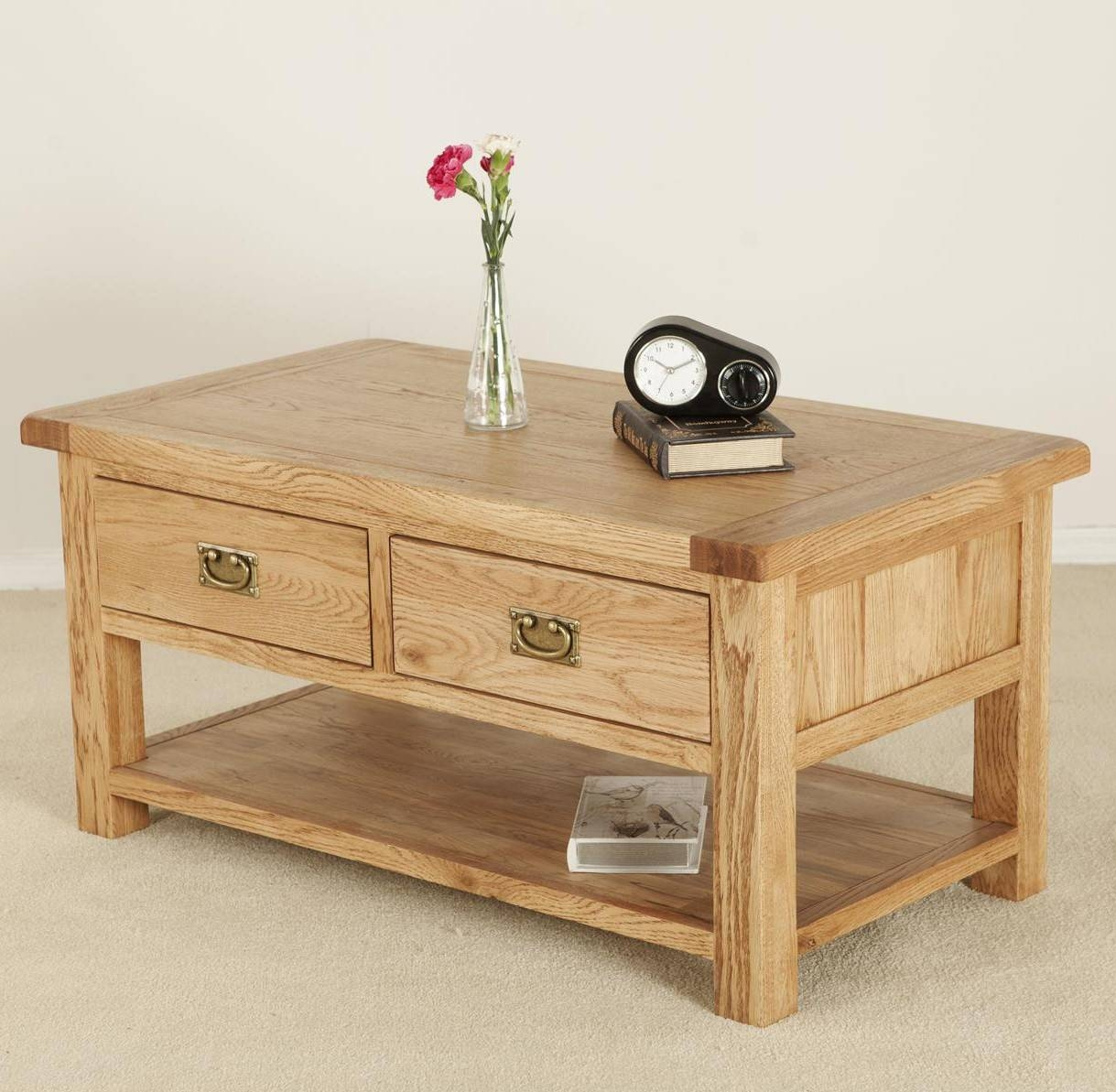 Solid Wood Coffee Tables With Drawers | Coffee Tables Decoration Pertaining To Oak Coffee Table Sets (View 19 of 30)