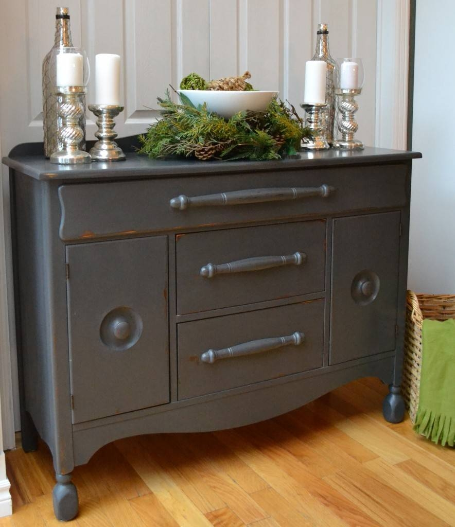 Solid Wood Sideboard Refinished In Grey – At Number 10 with regard to Grey Wood Sideboards (Image 26 of 30)