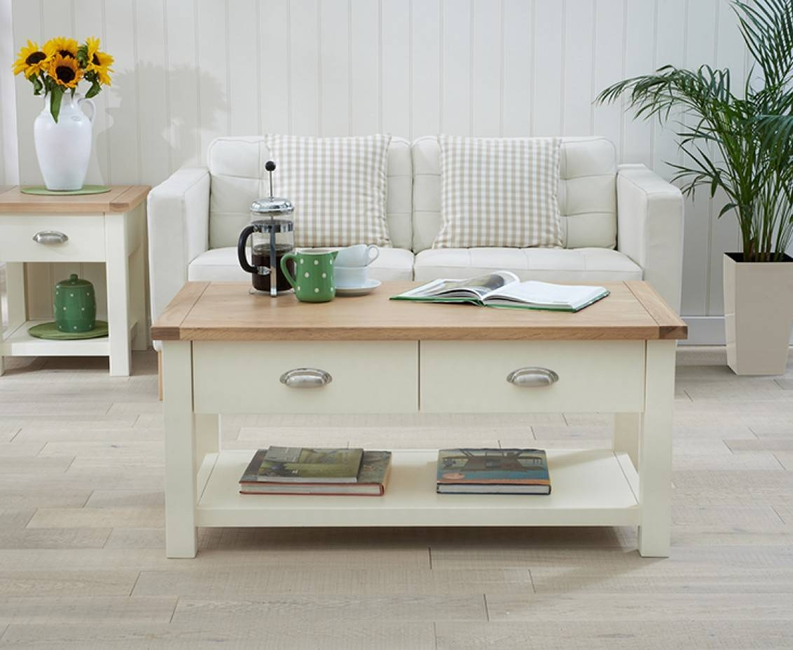 Somerset Oak And Cream Coffee Table | The Great Furniture Trading inside Oak And Cream Coffee Tables (Image 28 of 30)