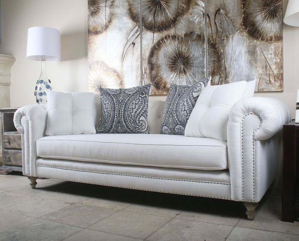 South Cone Home Hanover Tufted Linen Chesterfield Sofa | Wayfair with Tufted Linen Sofas (Image 27 of 30)