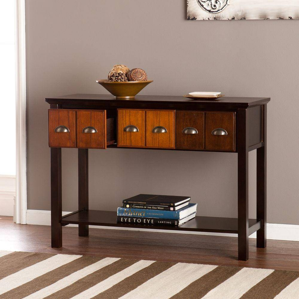Southern Enterprises Portland Espresso Storage Console Table within Cd Storage Coffee Tables to Copy at Home (Image 25 of 30)