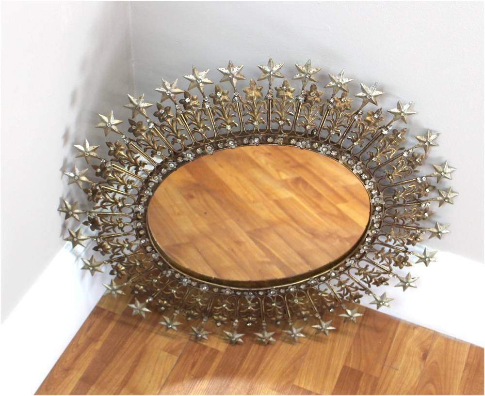Sparkling Rhinestone And Shooting Stars Mirror Pressed Tin And Gold with regard to Pressed Tin Mirrors (Image 22 of 25)