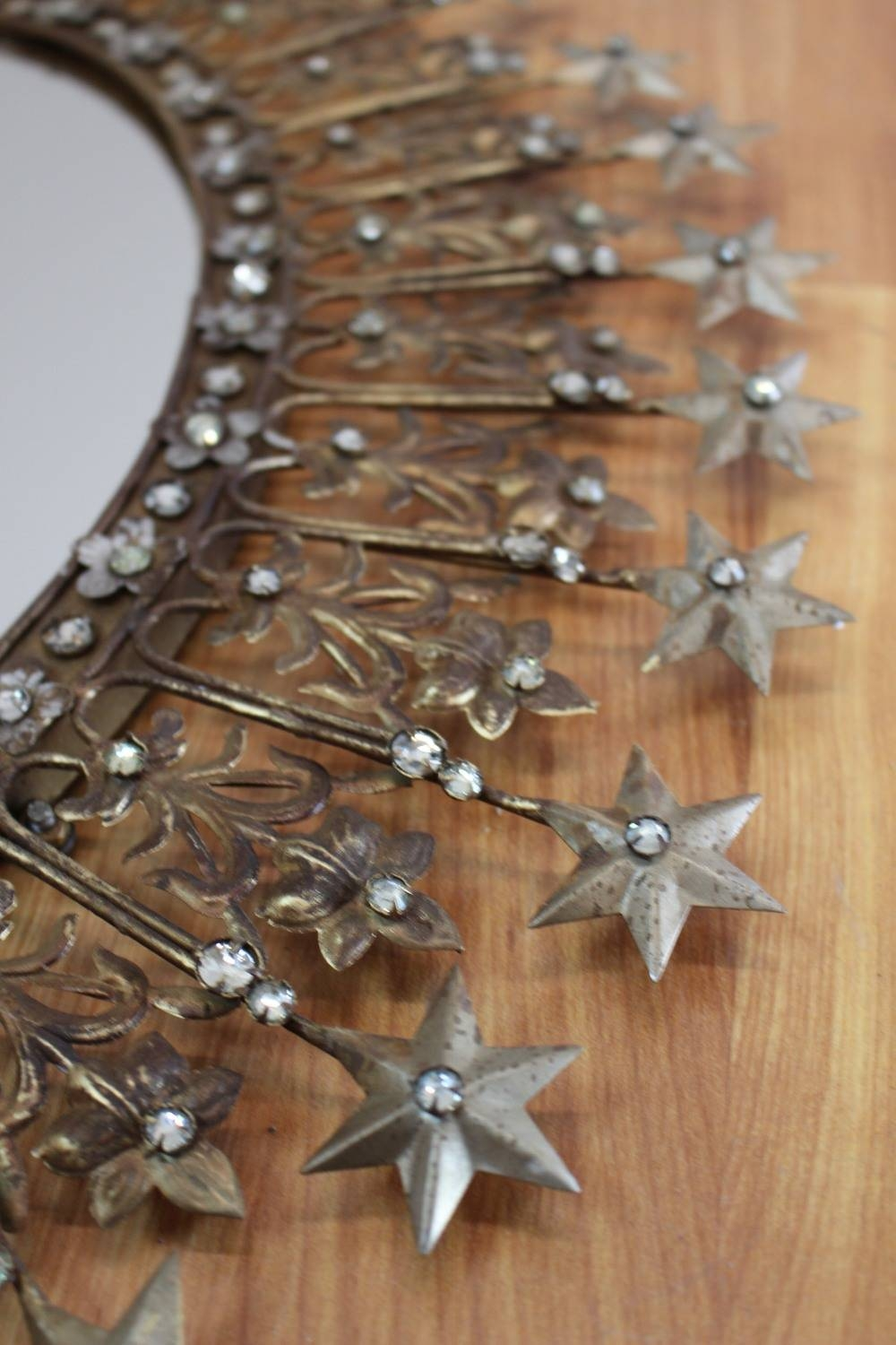 Sparkling Rhinestone And Shooting Stars Mirror Pressed Tin And Gold within Pressed Tin Mirrors (Image 24 of 25)