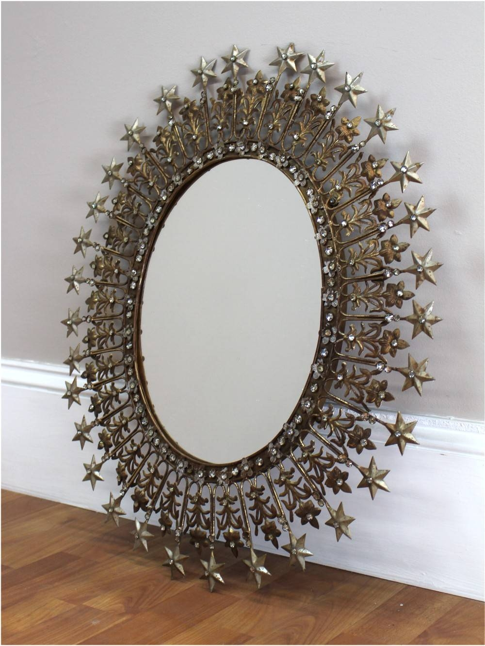 Sparkling Rhinestone And Shooting Stars Mirror Pressed Tin And Gold within Pressed Tin Mirrors (Image 23 of 25)