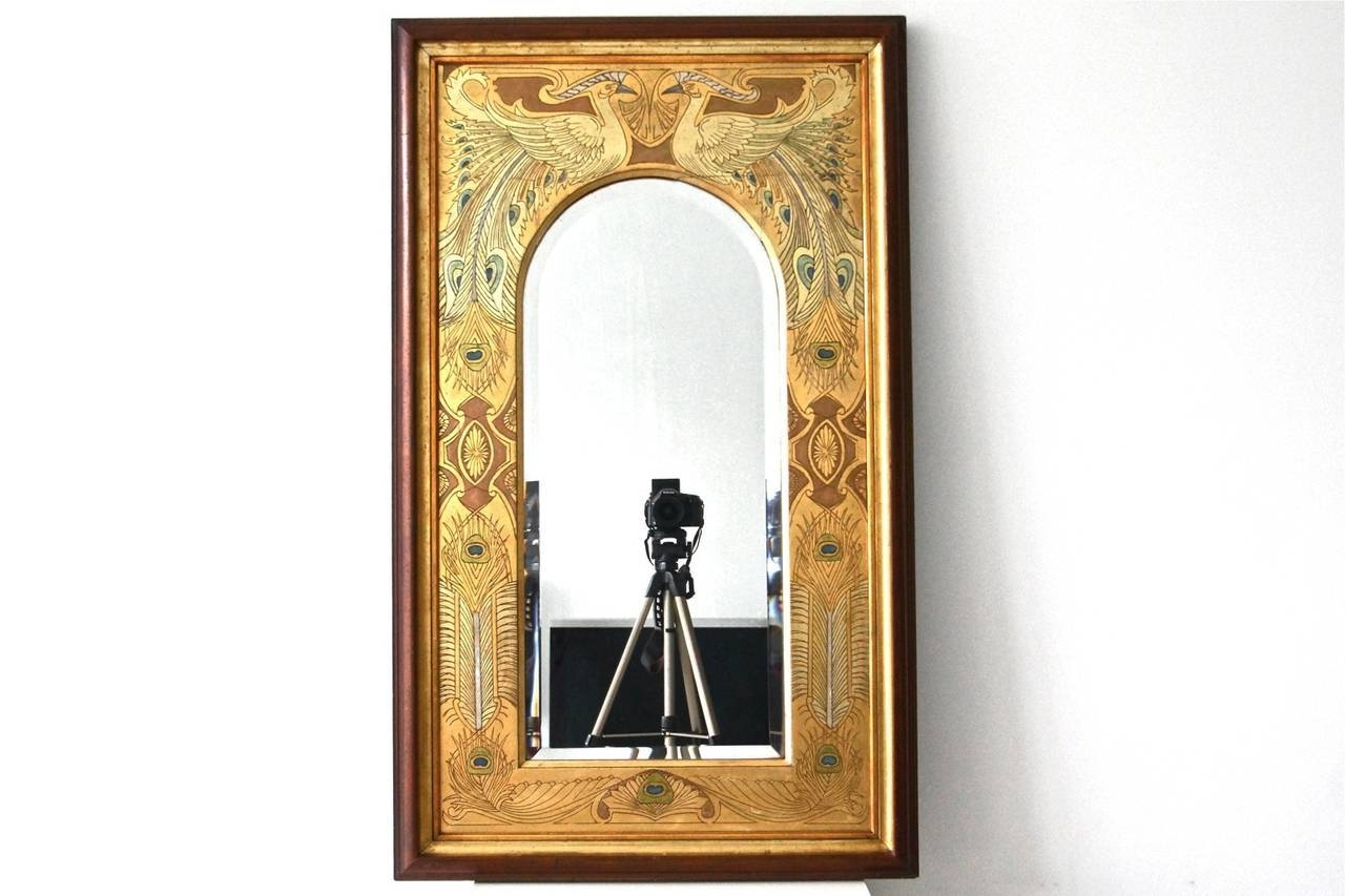 Spectacular Art Nouveau Mirror With Peacocks For Sale At 1Stdibs Throughout Art Nouveau Mirrors (View 25 of 25)