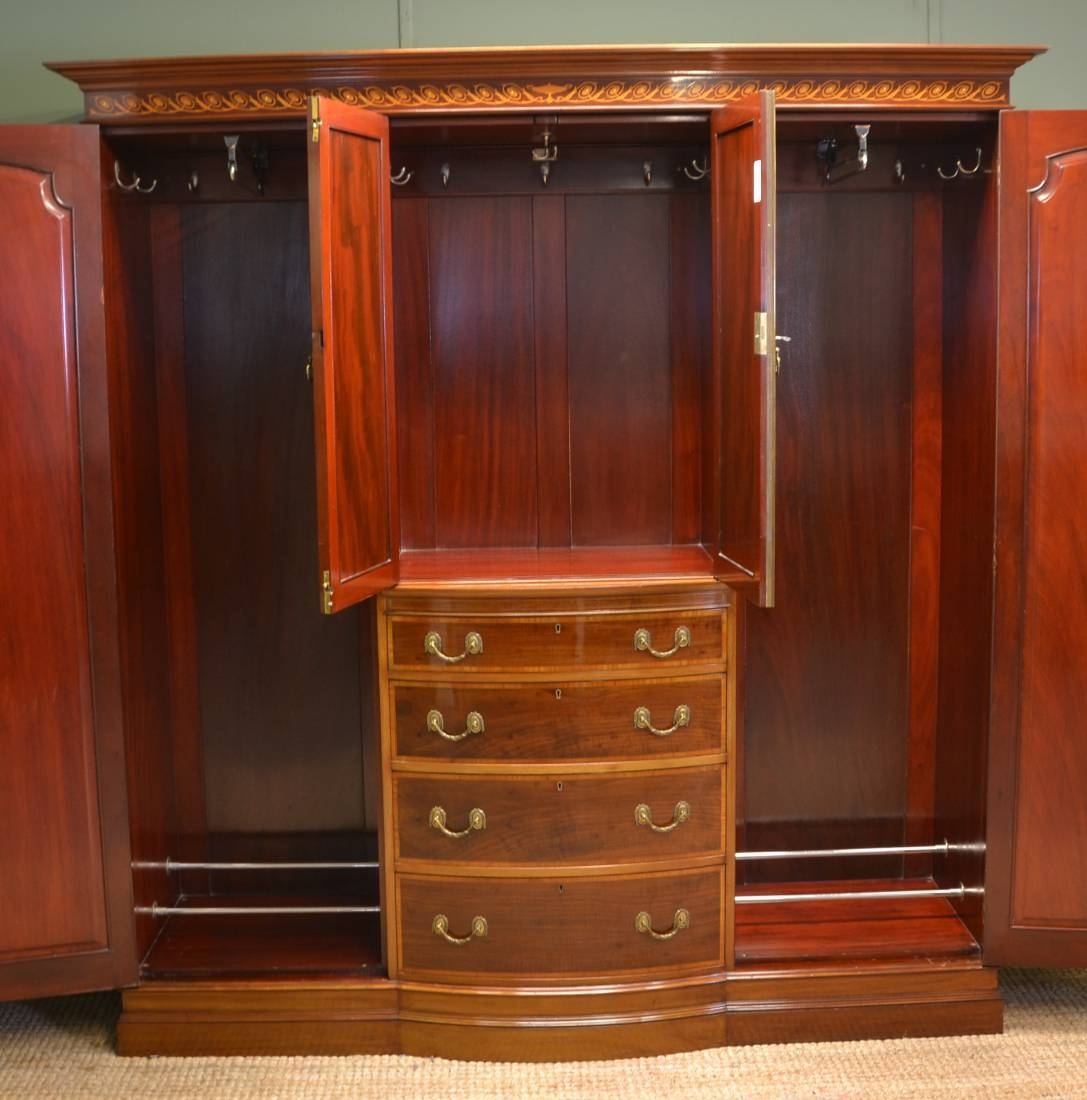 Spectacular Inlaid Mahogany Antique Victorian Triple Wardrobe intended for Antique Triple Wardrobes (Image 9 of 15)