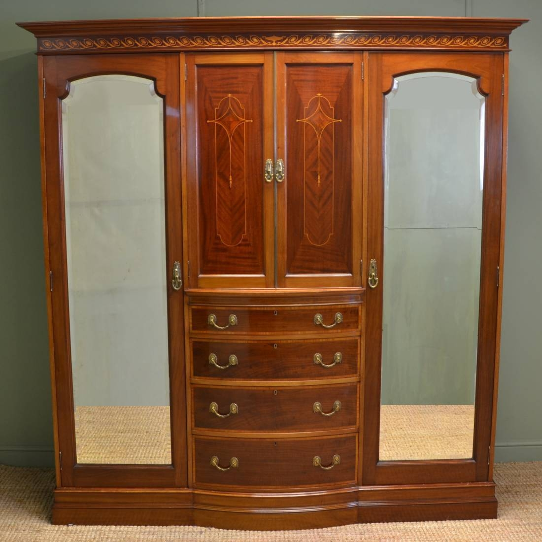 Spectacular Inlaid Mahogany Antique Victorian Triple Wardrobe pertaining to Antique Triple Wardrobes (Image 10 of 15)