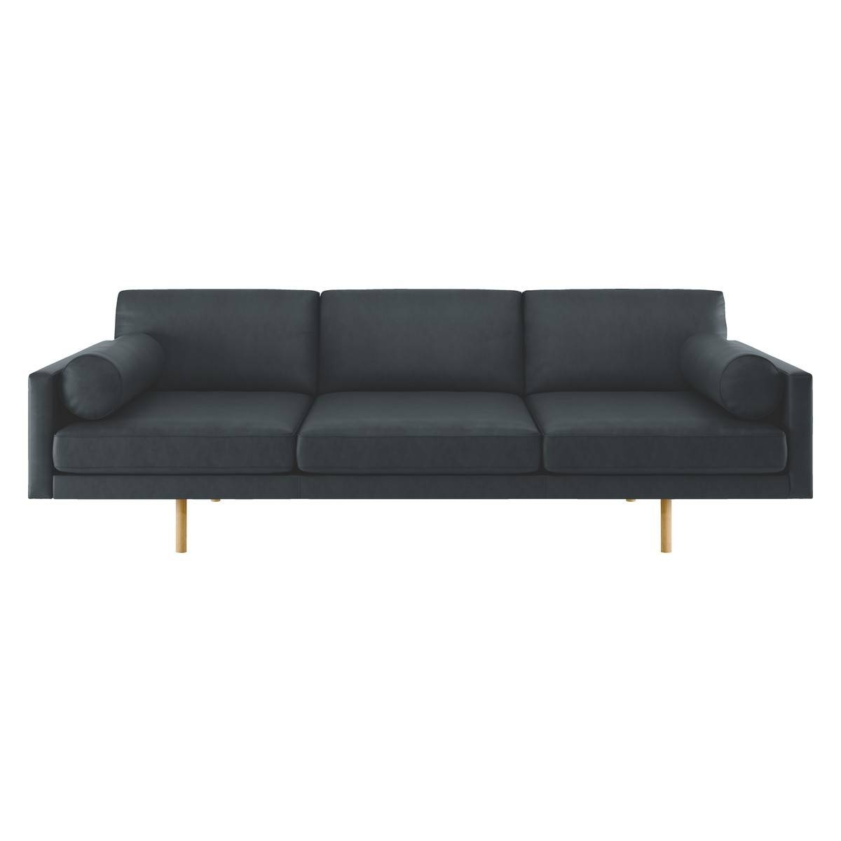 Spencer Dark Grey Luxury Leather 4 Seater Sofa, Oak Legs | Buy Now inside Four Seat Sofas (Image 28 of 30)