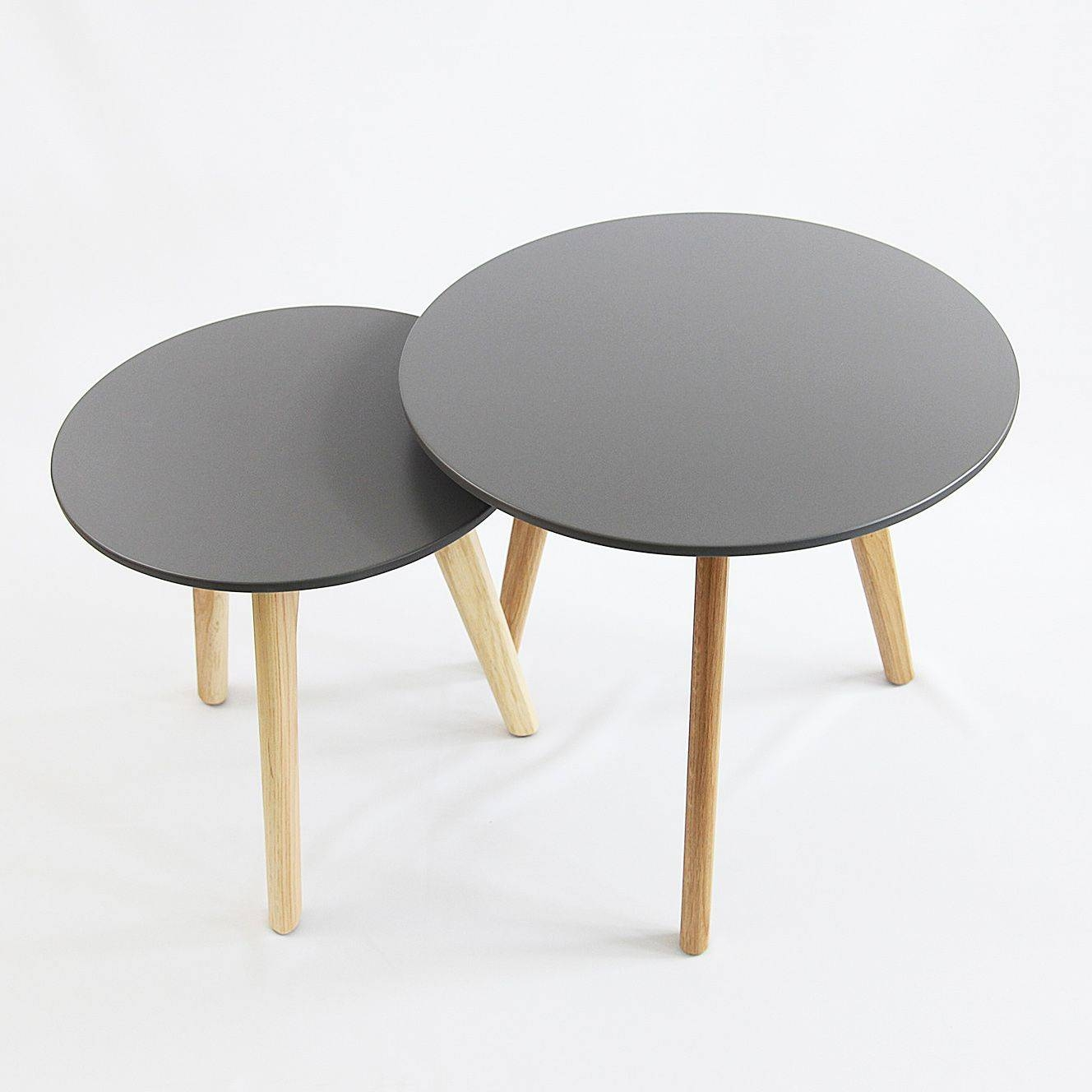Spio Nest Of Tables Round Table Side Coffee Table - Grey intended for Nest Coffee Tables (Image 25 of 30)