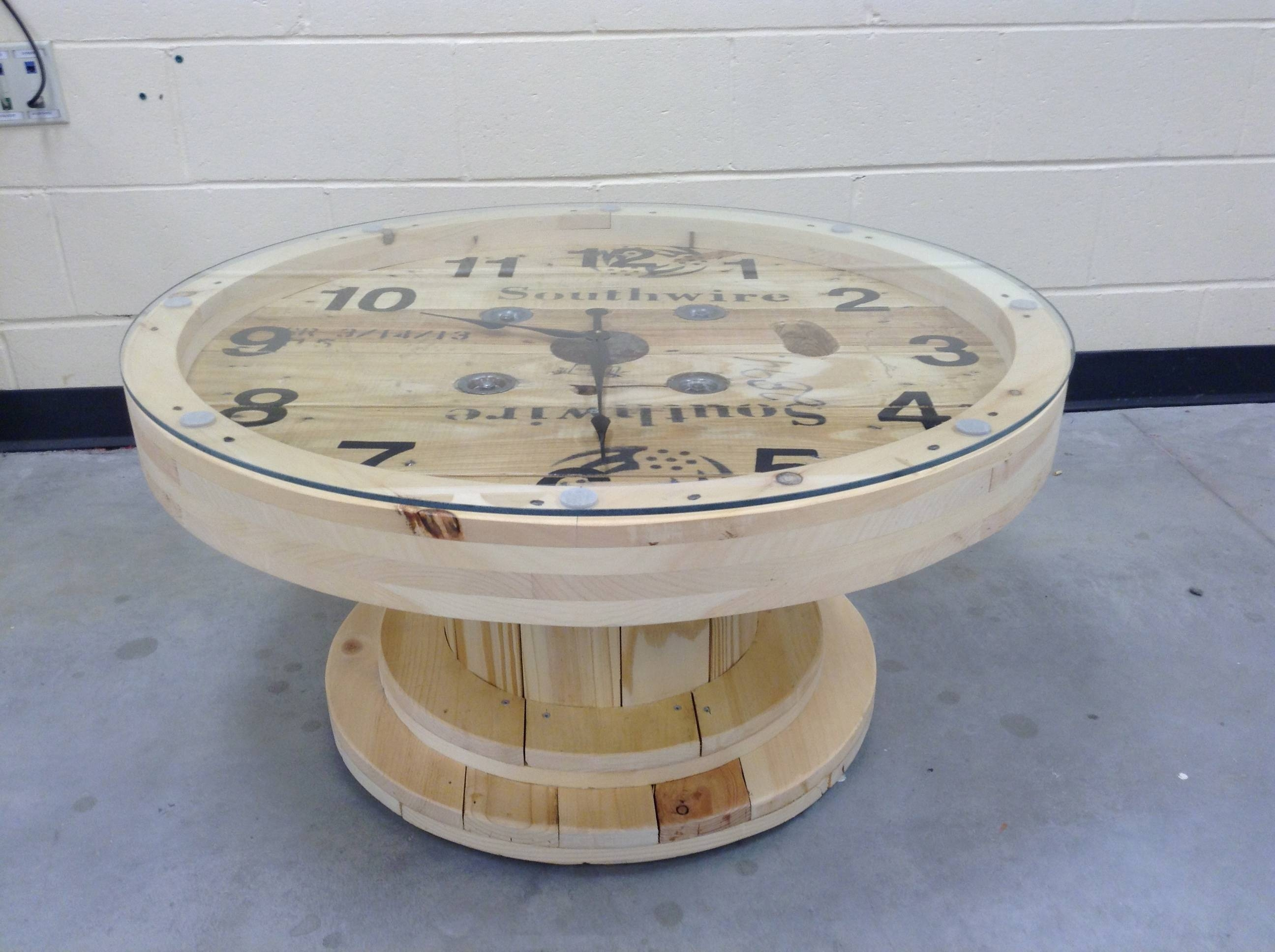 Spool Coffee Table inside Coffee Tables With Clock Top (Image 28 of 30)