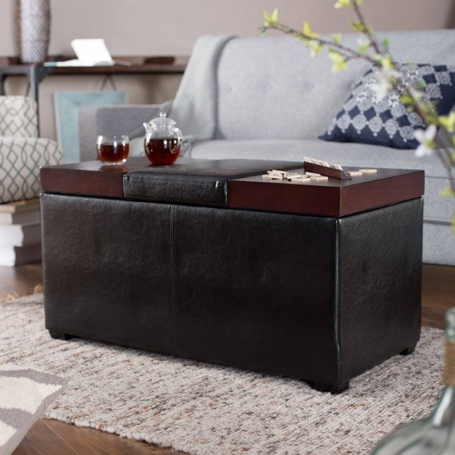 Square Black Leather Ottoman Coffee Table With Storage On White throughout Brown Leather Ottoman Coffee Tables With Storages (Image 28 of 30)