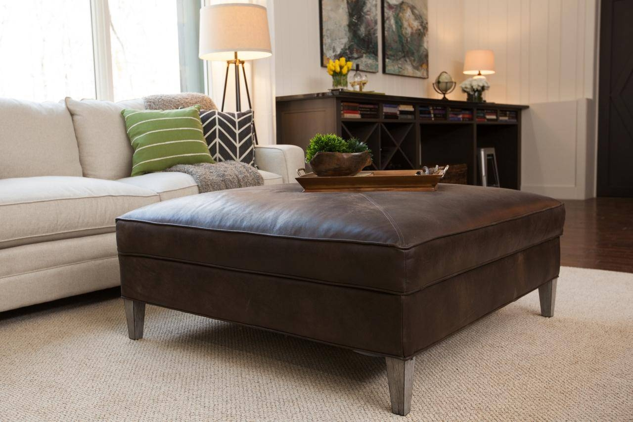 Square Brown Leather Ottoman Coffee Table | Coffee Tables Decoration inside Brown Leather Ottoman Coffee Tables With Storages (Image 29 of 30)