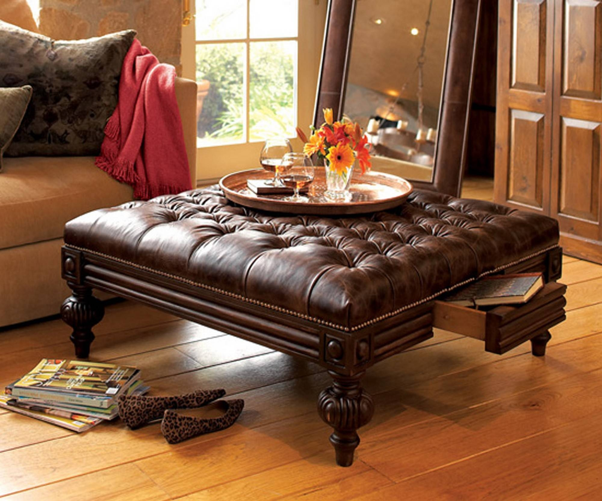 square brown leather ottoman coffee table coffee tables decoration throughout brown leather ottoman coffee tables - Brown Leather Ottoman