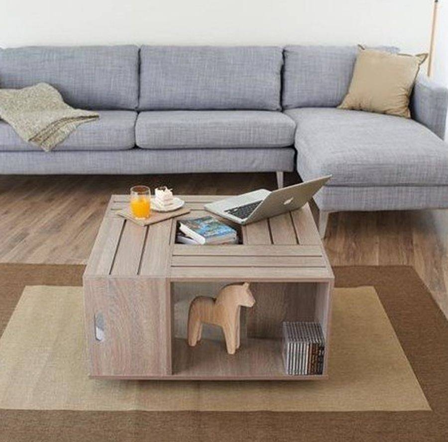 Square Coffee Table Rustic Crate Open Shelf Storage Flip Box For Opens Up Coffee Tables (View 18 of 30)