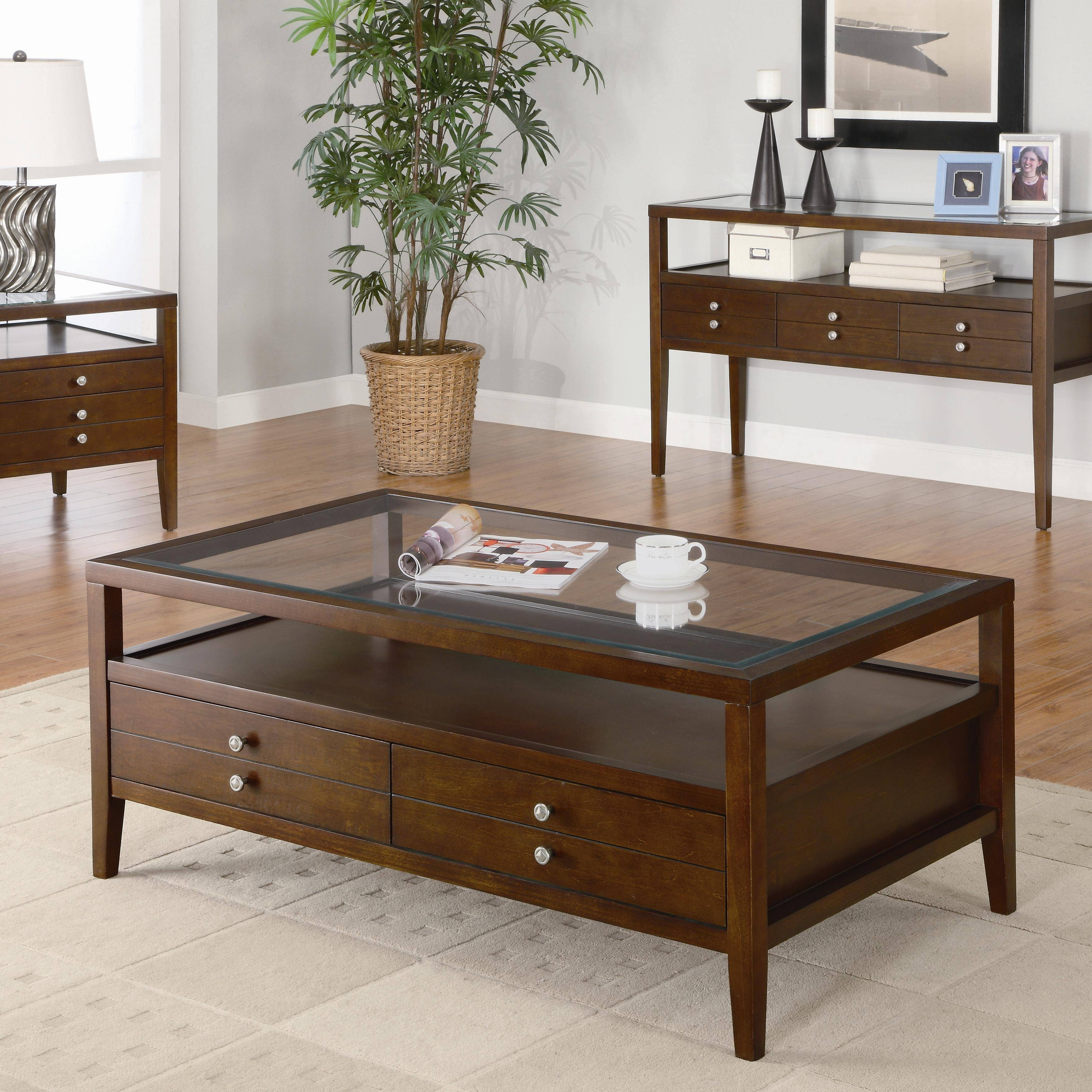 Square Coffee Table With Glass Top And Drawers | Coffee Tables in Square Dark Wood Coffee Tables (Image 25 of 30)