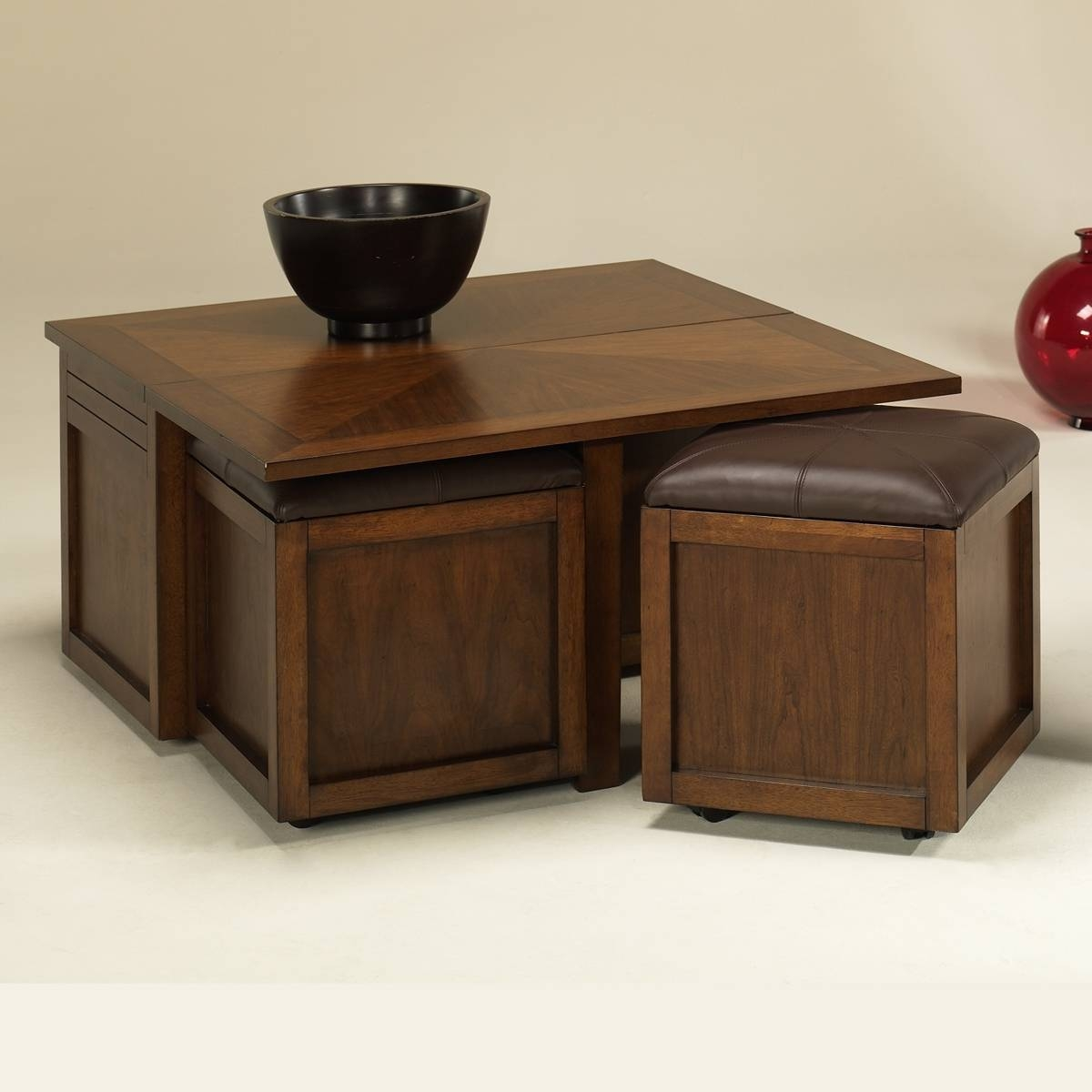 Square Coffee Table With Ottoman Seating | Coffee Tables Decoration For Small Coffee Tables With Storage (View 30 of 30)