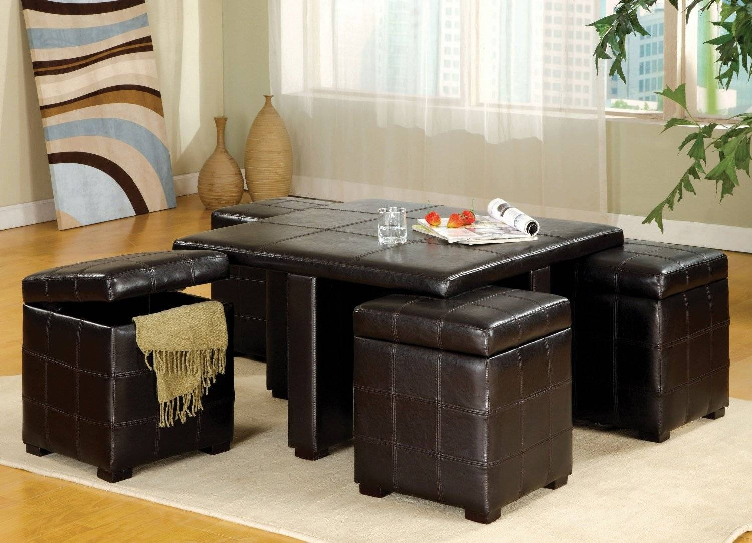 Square Coffee Table With Pull Out Ottomans | Coffee Tables Decoration in Square Coffee Table Storages (Image 25 of 30)