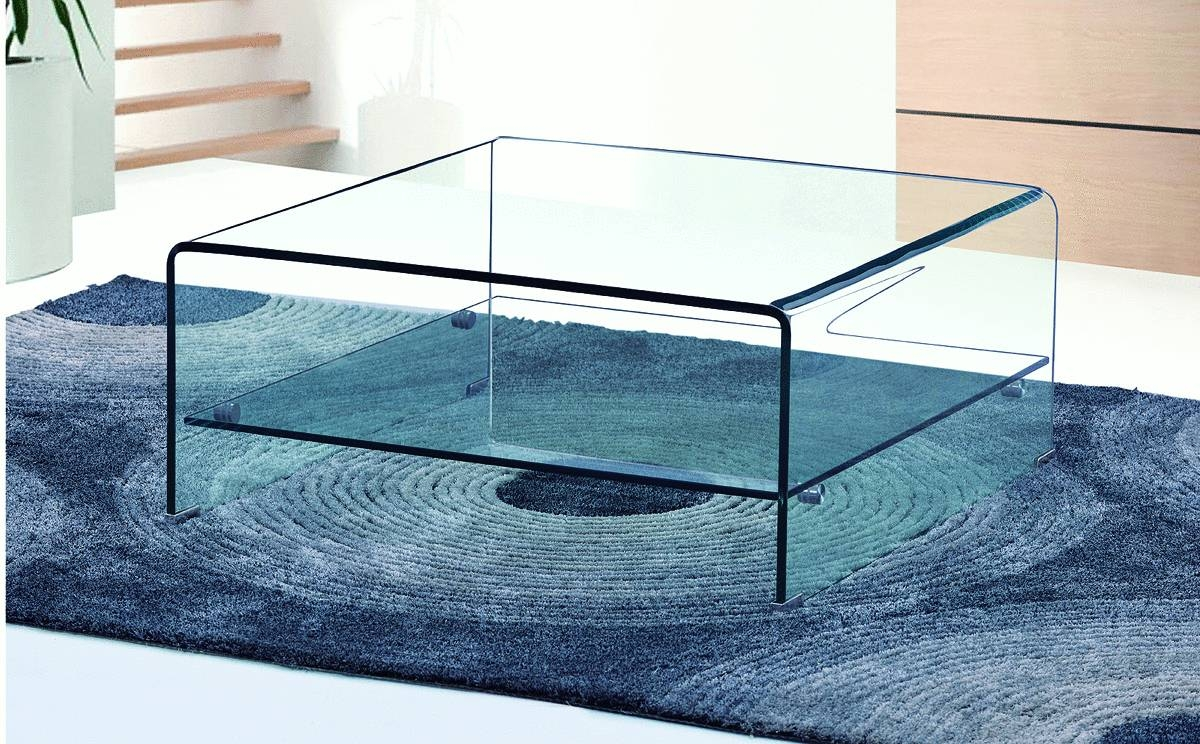 Square Curved Clear Glass Coffee Table With Shelf - Homegenies inside Glass Coffee Tables With Shelf (Image 26 of 30)