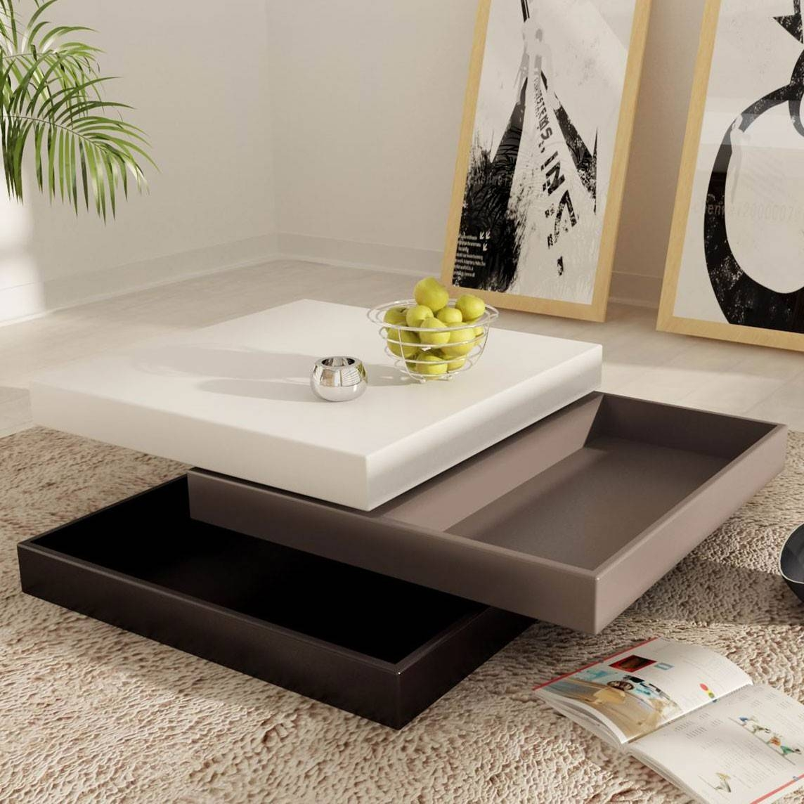 Square Farmhouse Coffee Tables   Functional Square Coffee Tables In Cream  Coffee Tables With Drawers (