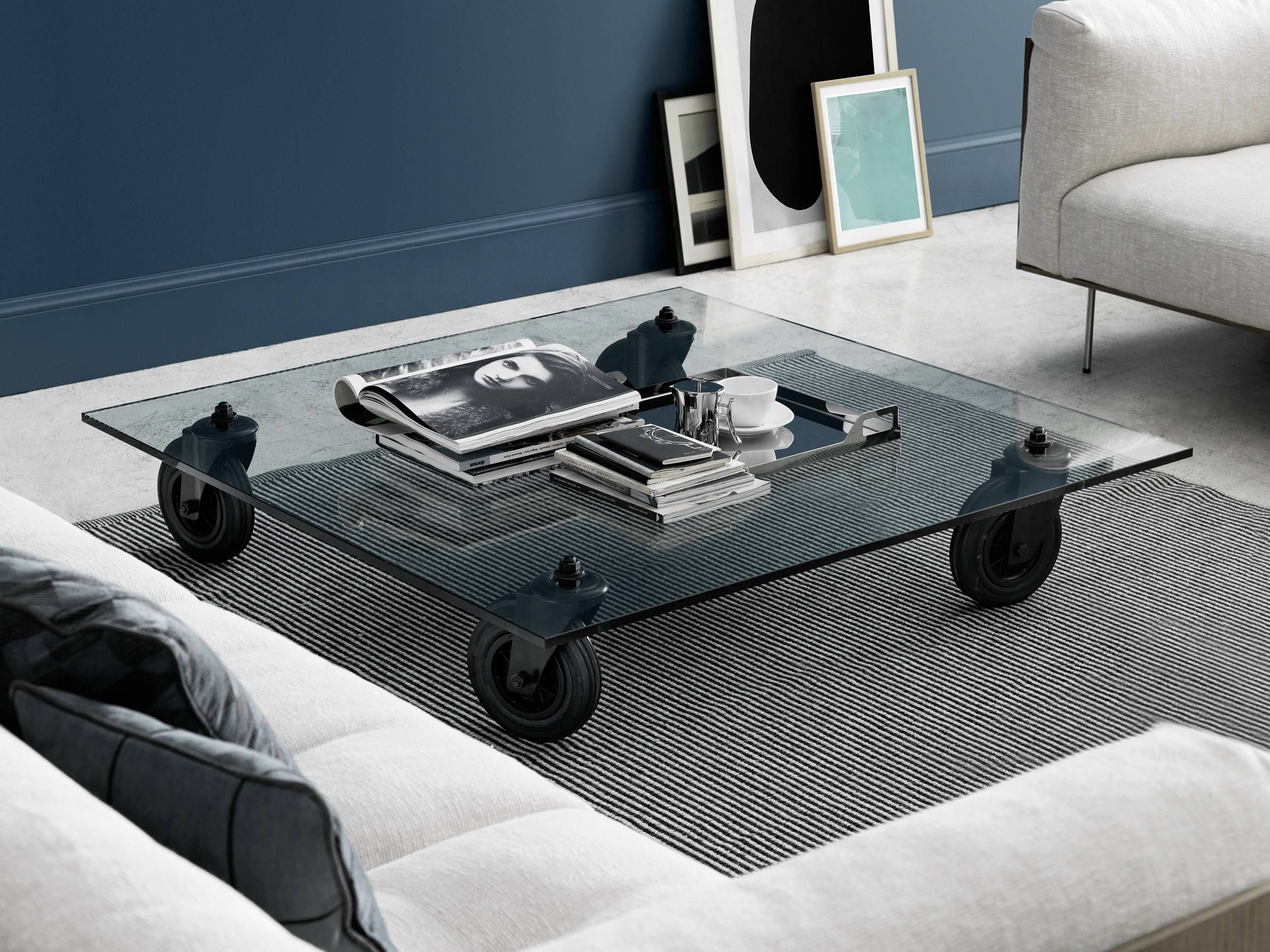 Square Float Glass Coffee Table With Casters Tavolo Con Ruote intended for Glass Coffee Tables With Casters (Image 26 of 30)