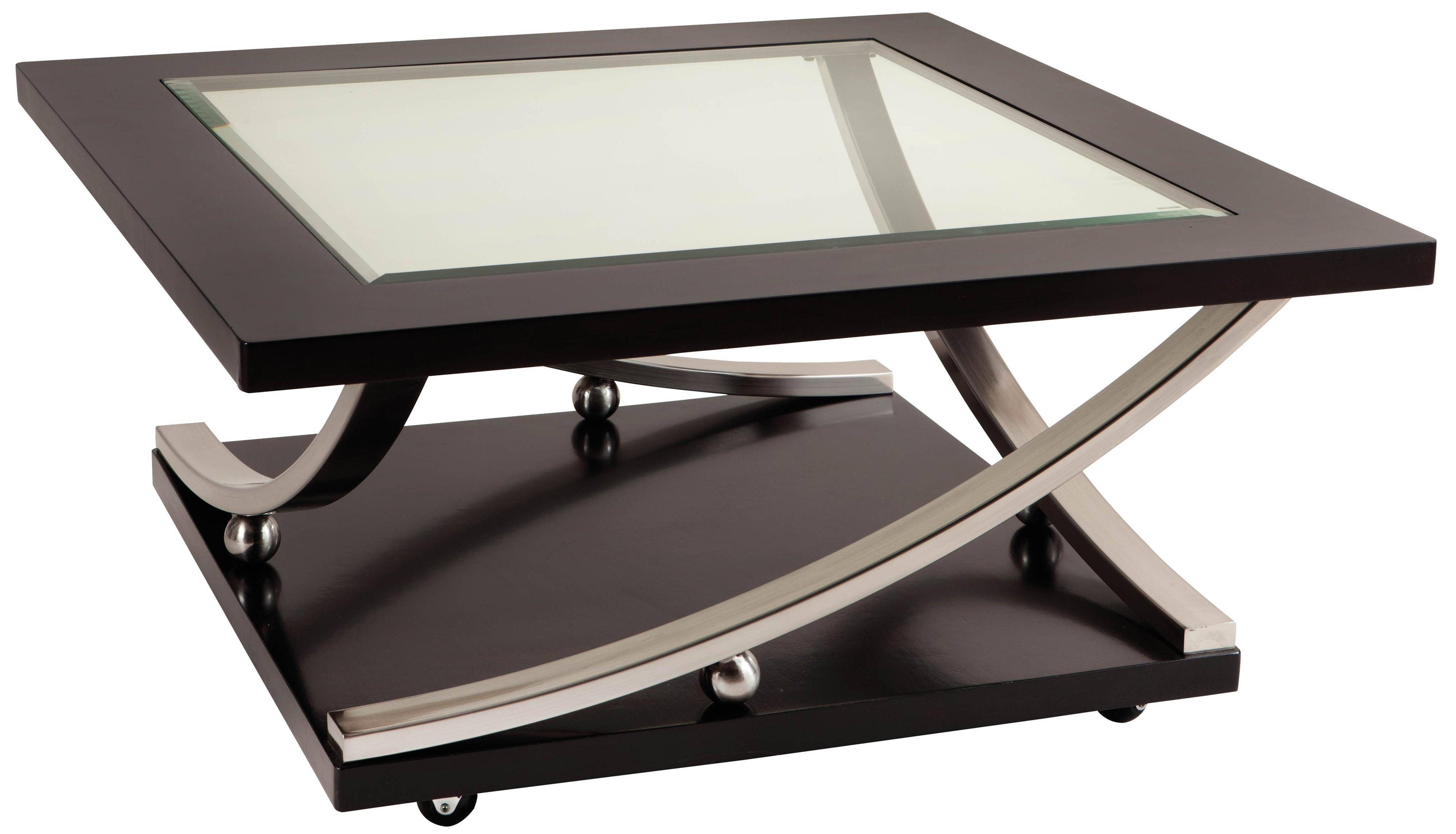 Square Glass Top Cocktail Table With Castersstandard Furniture regarding Glass Coffee Tables With Casters (Image 27 of 30)