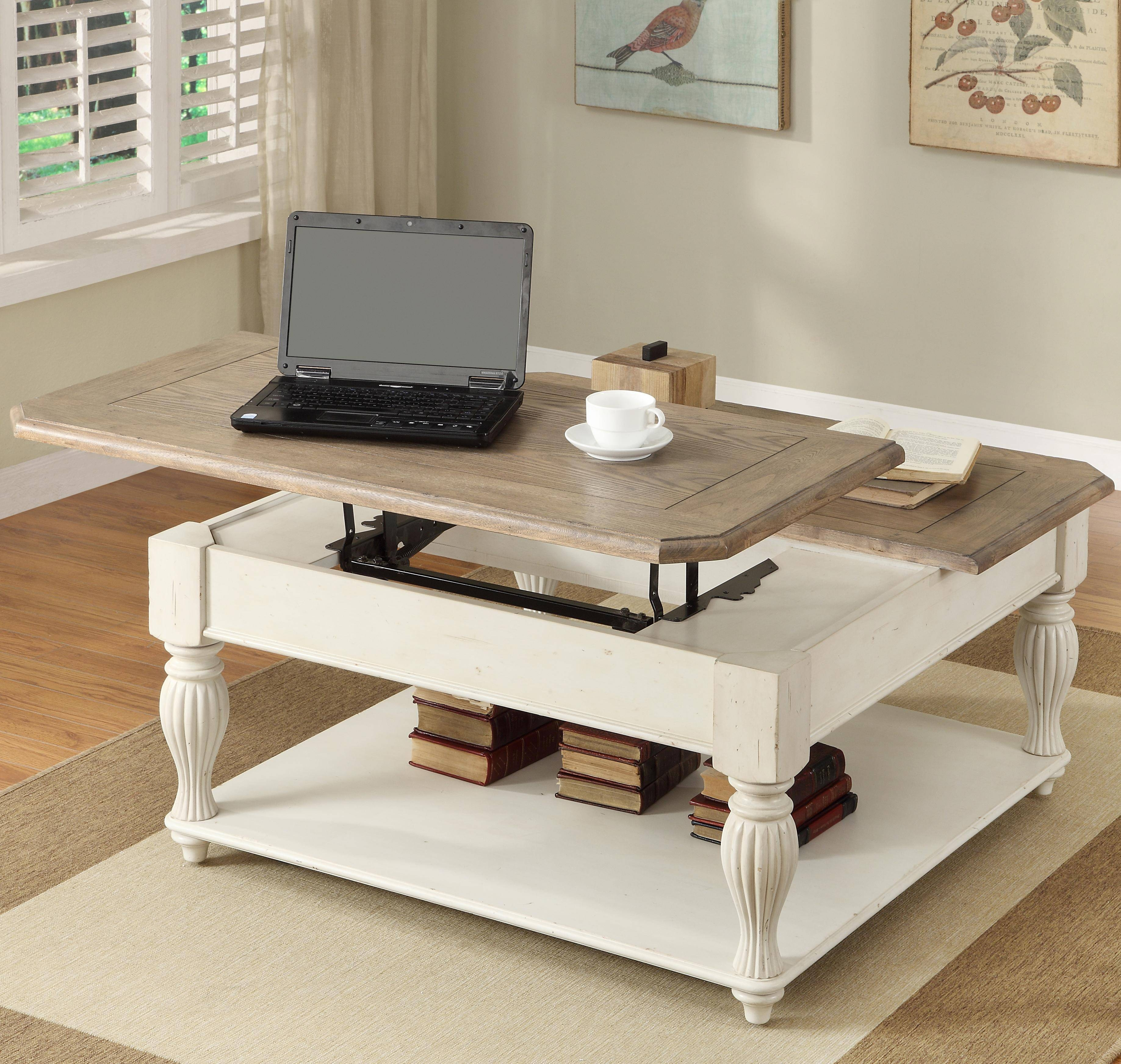 Square Lift-Top Coffee Table With Fixed Bottom Shelfriverside for Lift Top Coffee Table Furniture (Image 27 of 30)