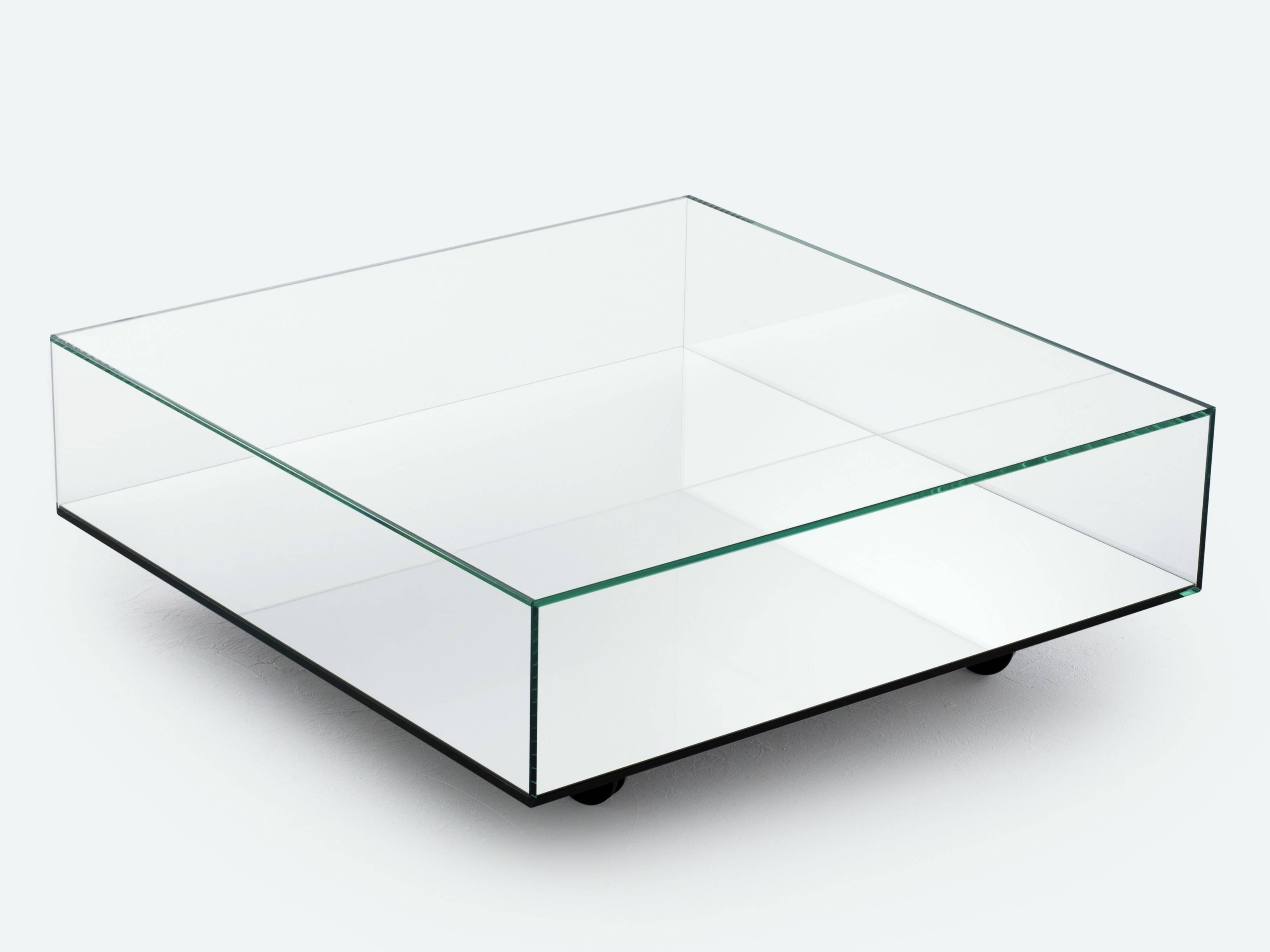 Square Low Profile Mirrored Glass Top Coffe Table With Storage And With Regard To Square Low Coffee Tables (View 19 of 20)