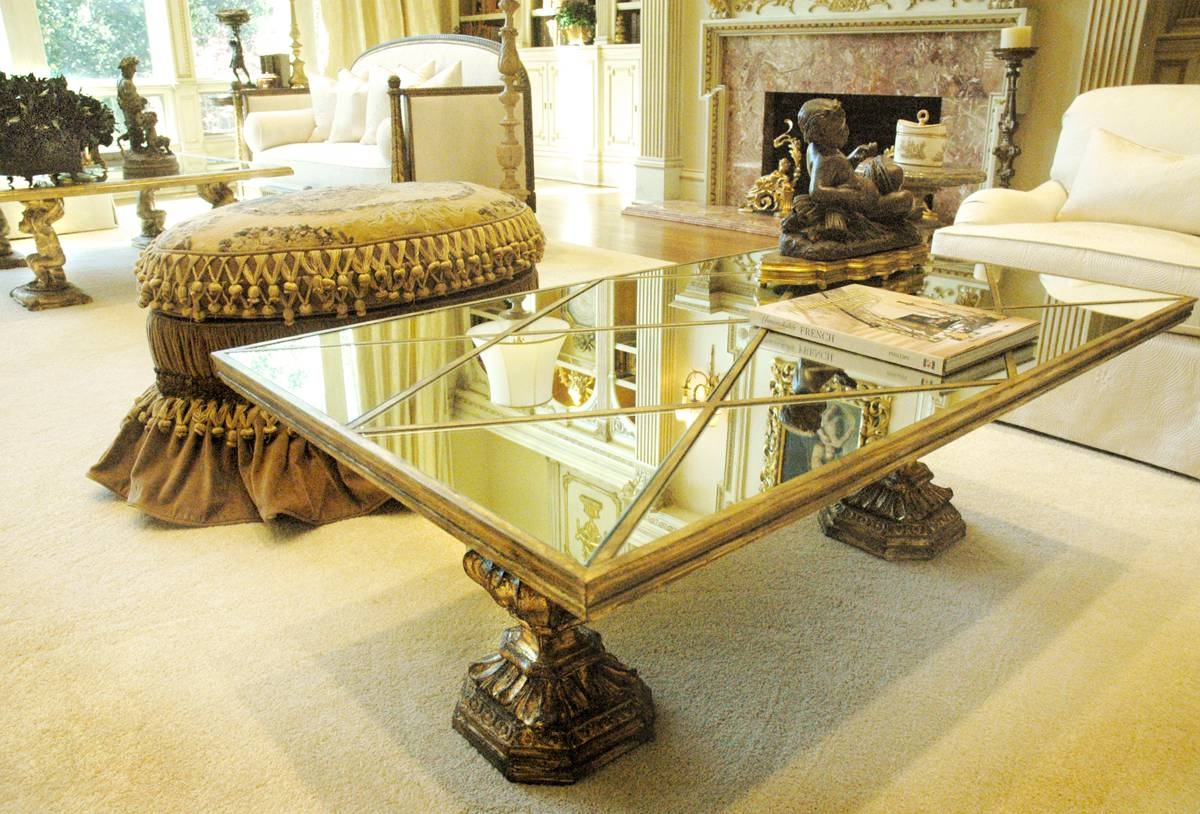 Square Mirrored Coffee Table : The Attractive Mirrored Coffee intended for Antique Mirrored Coffee Tables (Image 26 of 30)