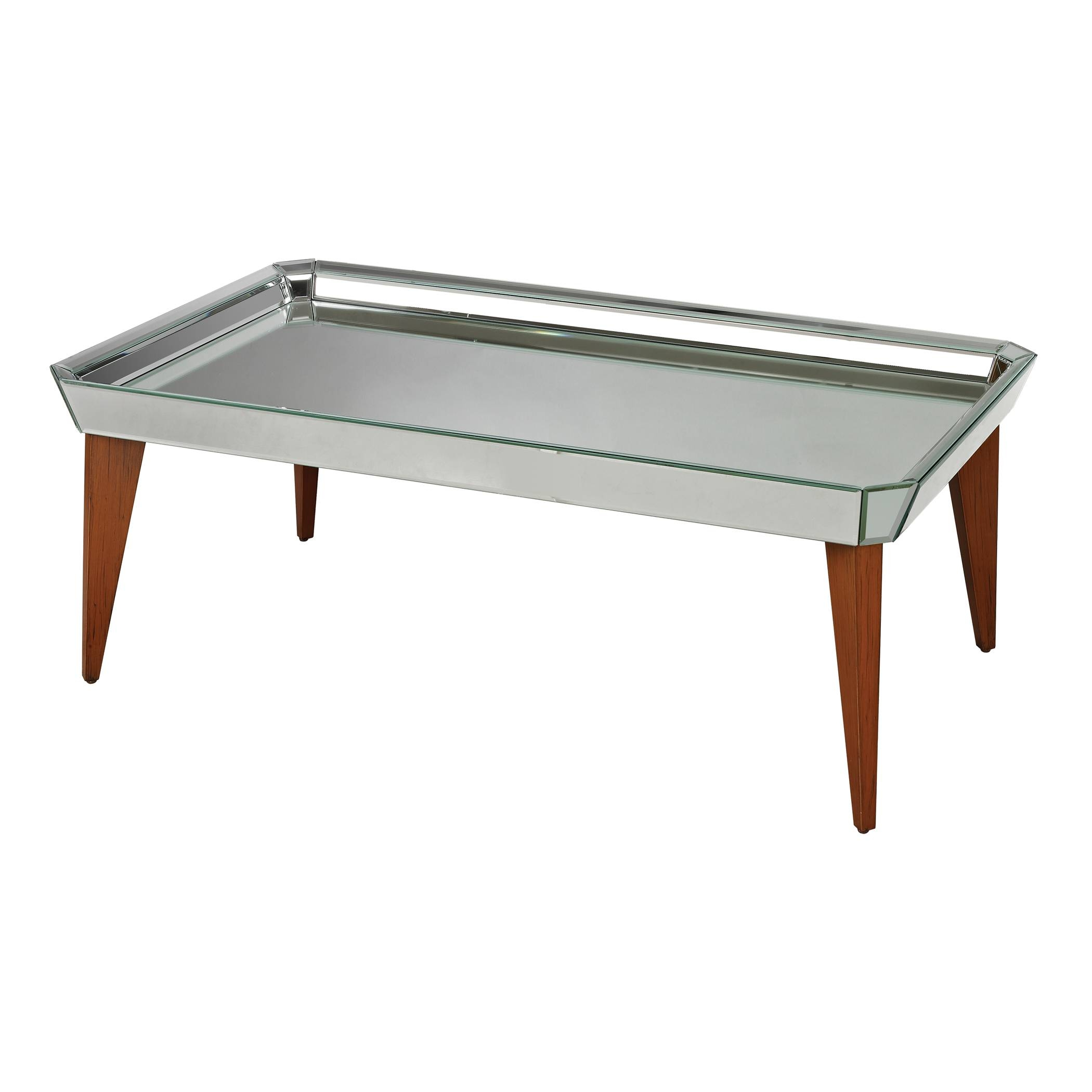 Square Mirrored Glass Top Coffee Table Tray With Wooden Legs Ideas with Round Coffee Table Trays (Image 27 of 30)