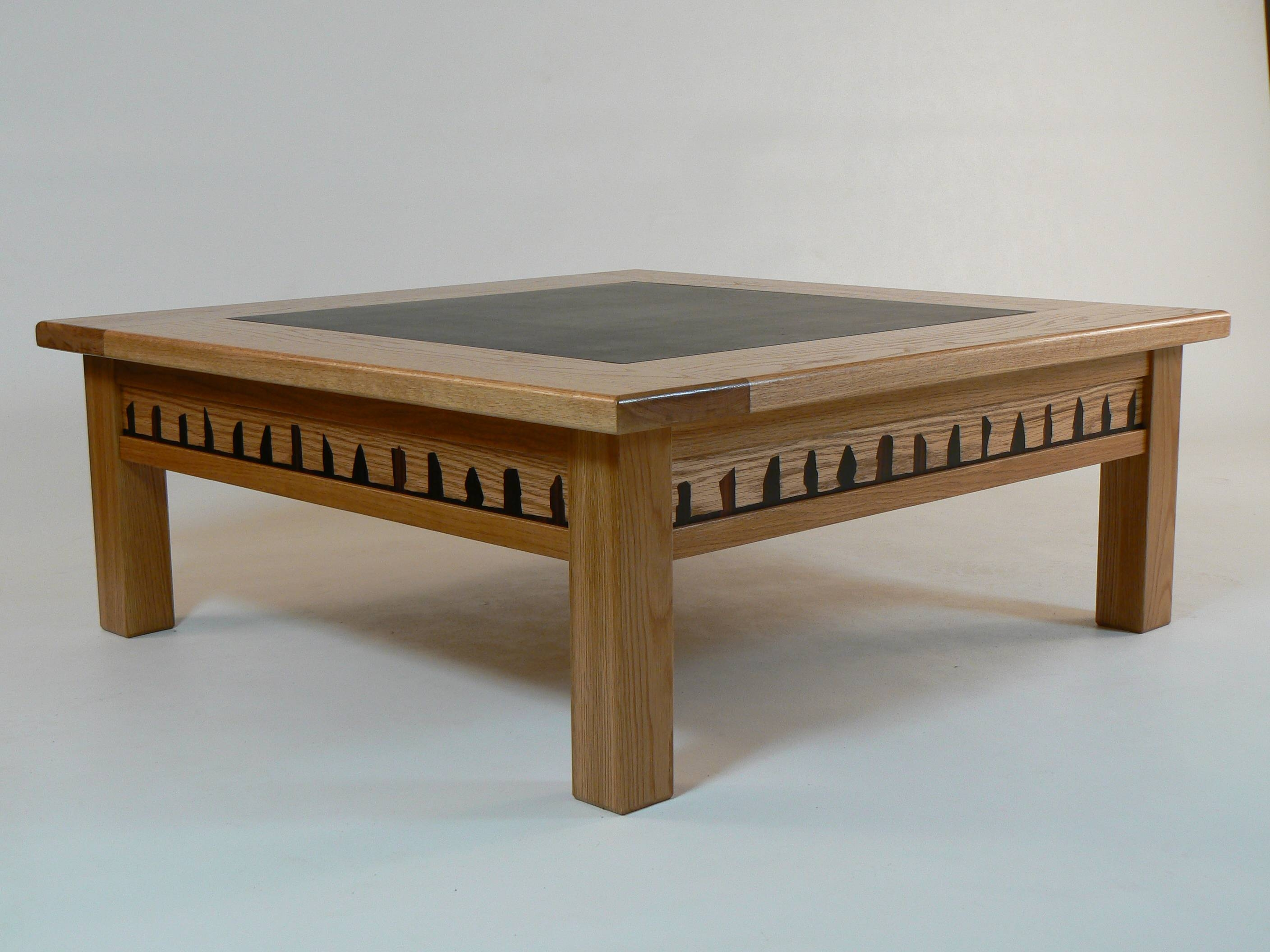 Square Oak Coffee Table With Glass Top | Coffee Tables Decoration pertaining to Reclaimed Wood And Glass Coffee Tables (Image 27 of 30)