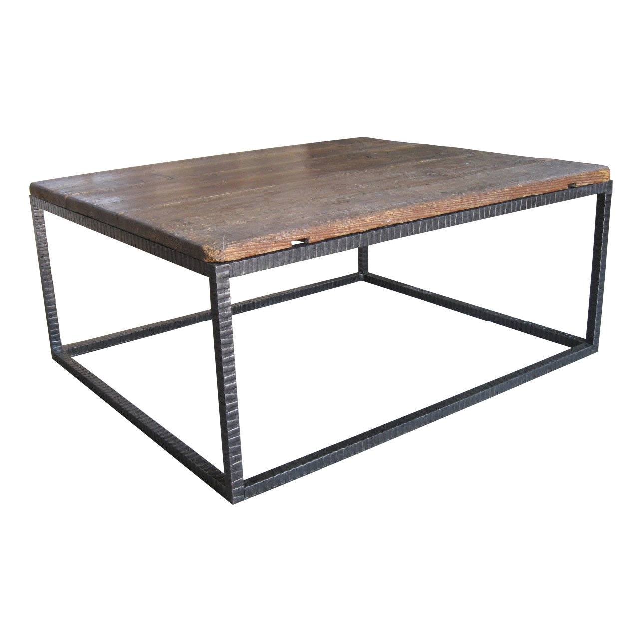 Square Wood And Metal Coffee Table | Coffee Tables Decoration in Metal Square Coffee Tables (Image 25 of 30)