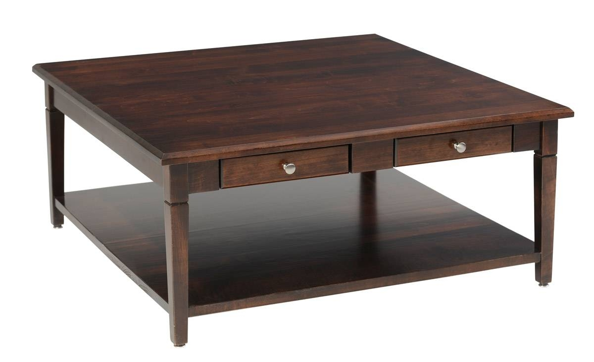 Square Wood Coffee Table With Drawers And Glass Top for Square Coffee Tables With Drawers (Image 30 of 30)